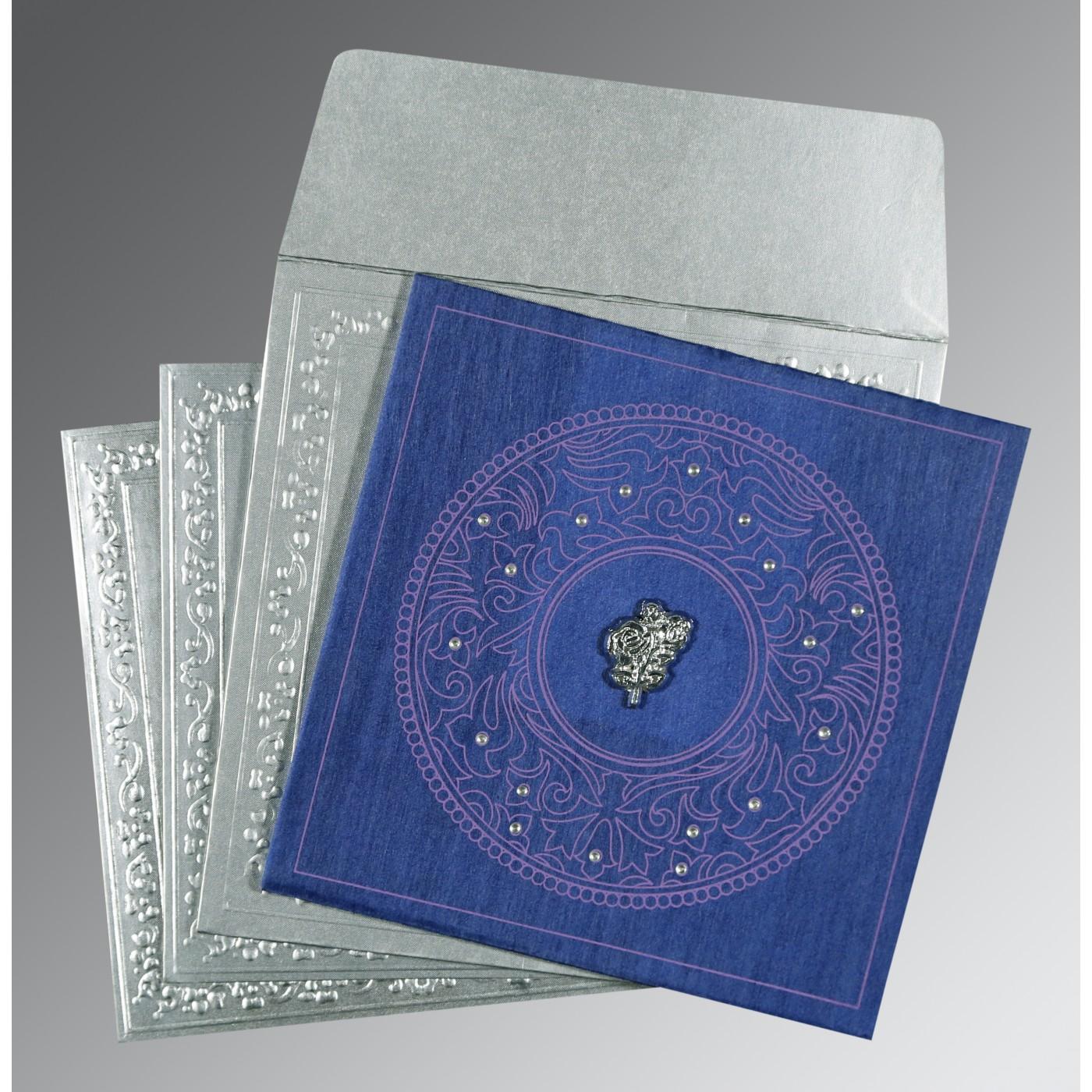 BLUE WOOLY SCREEN PRINTED WEDDING CARD : C-8214Q - 123WeddingCards