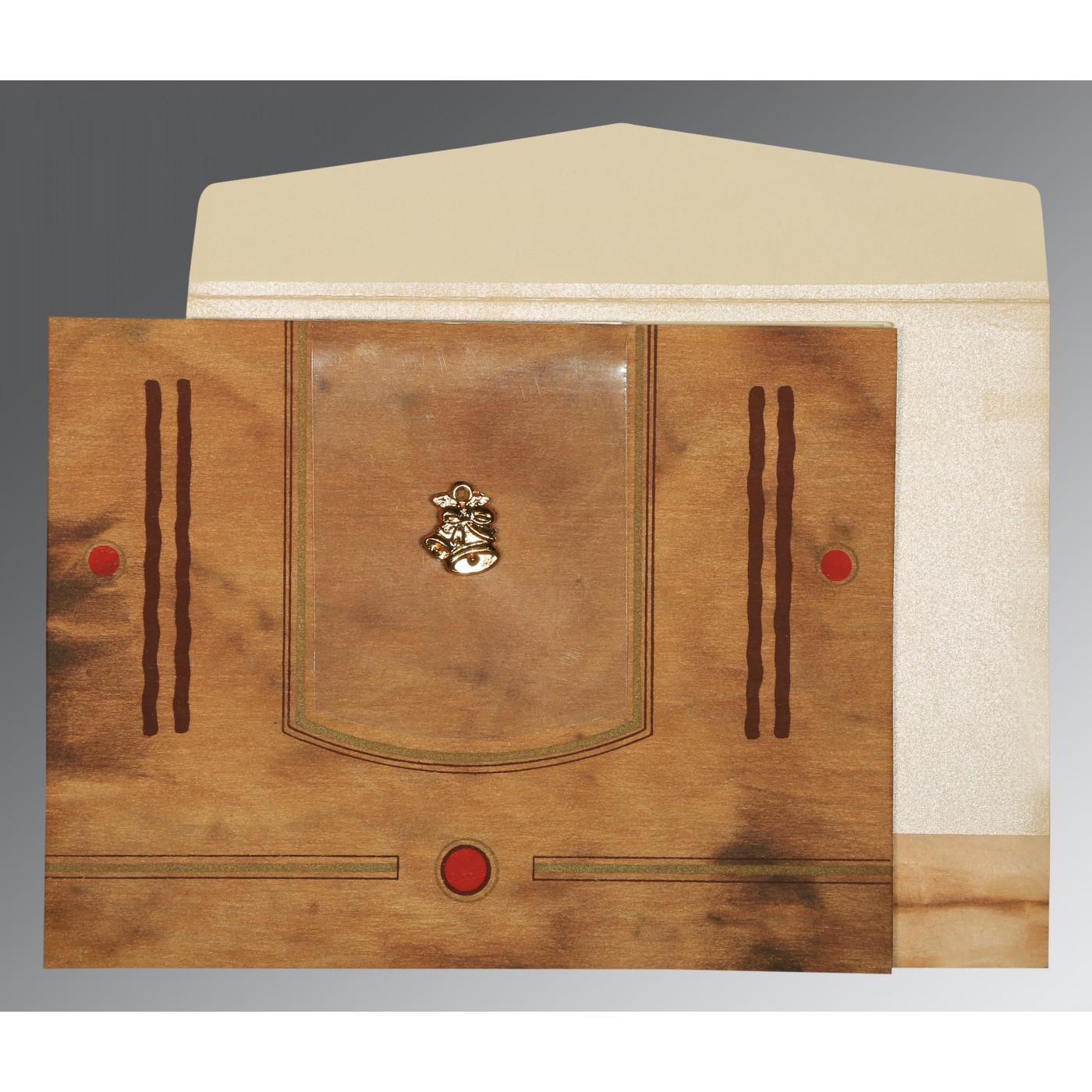 LIGHT BROWN MATTE SCREEN PRINTED WEDDING CARD : C-1204 - 123WeddingCards