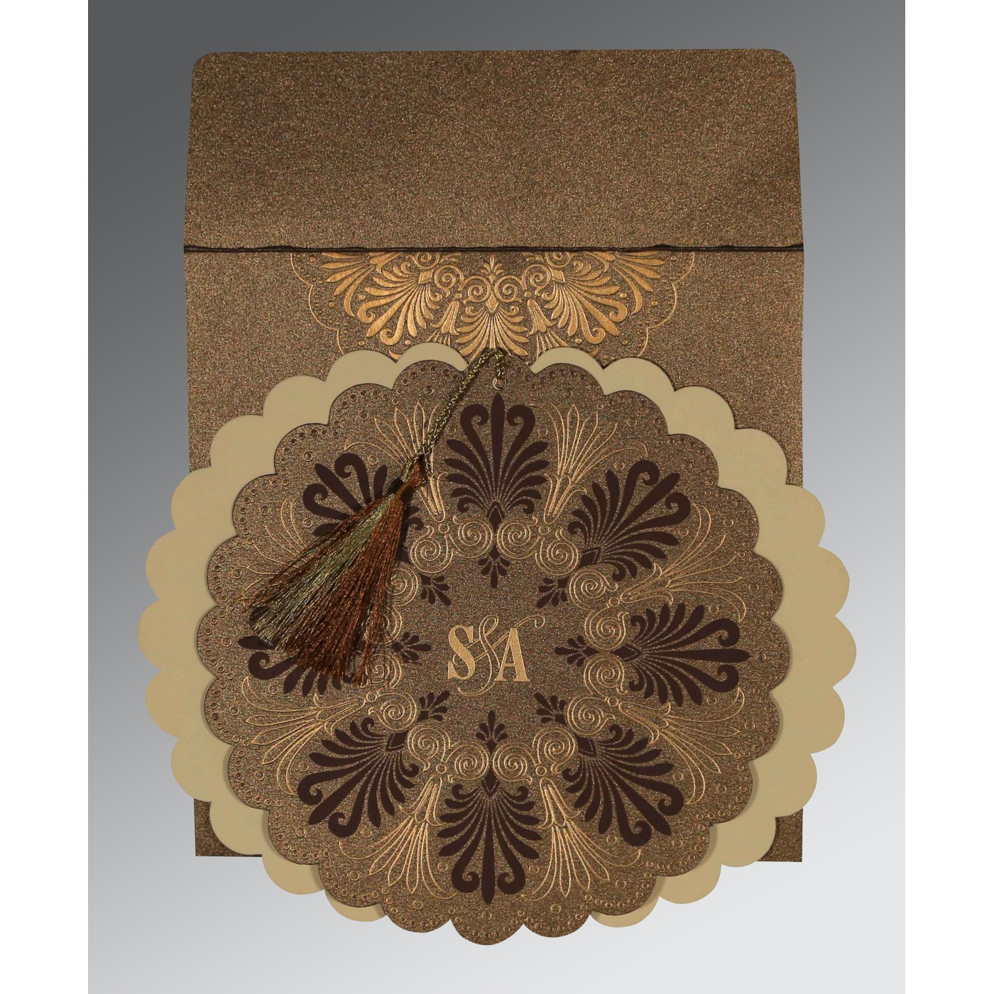 SHINGLE FAWN SHIMMERY FLORAL THEMED - EMBOSSED WEDDING CARD : C-8238G - 123WeddingCards