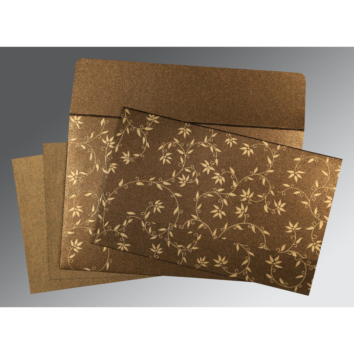 BROWN SHIMMERY FLORAL THEMED - SCREEN PRINTED WEDDING INVITATION : C-8226N - 123WeddingCards
