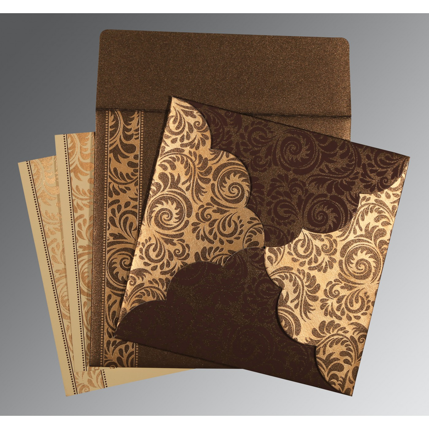DARK BROWN SHIMMERY FLORAL THEMED - SCREEN PRINTED WEDDING CARD : C-8235K - 123WeddingCards