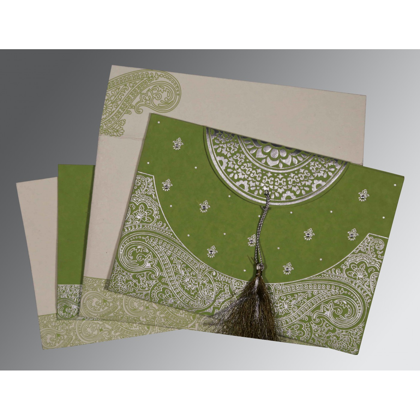 DARK OLIVE GREEN HANDMADE COTTON EMBOSSED WEDDING CARD : C-8234C - 123WeddingCards