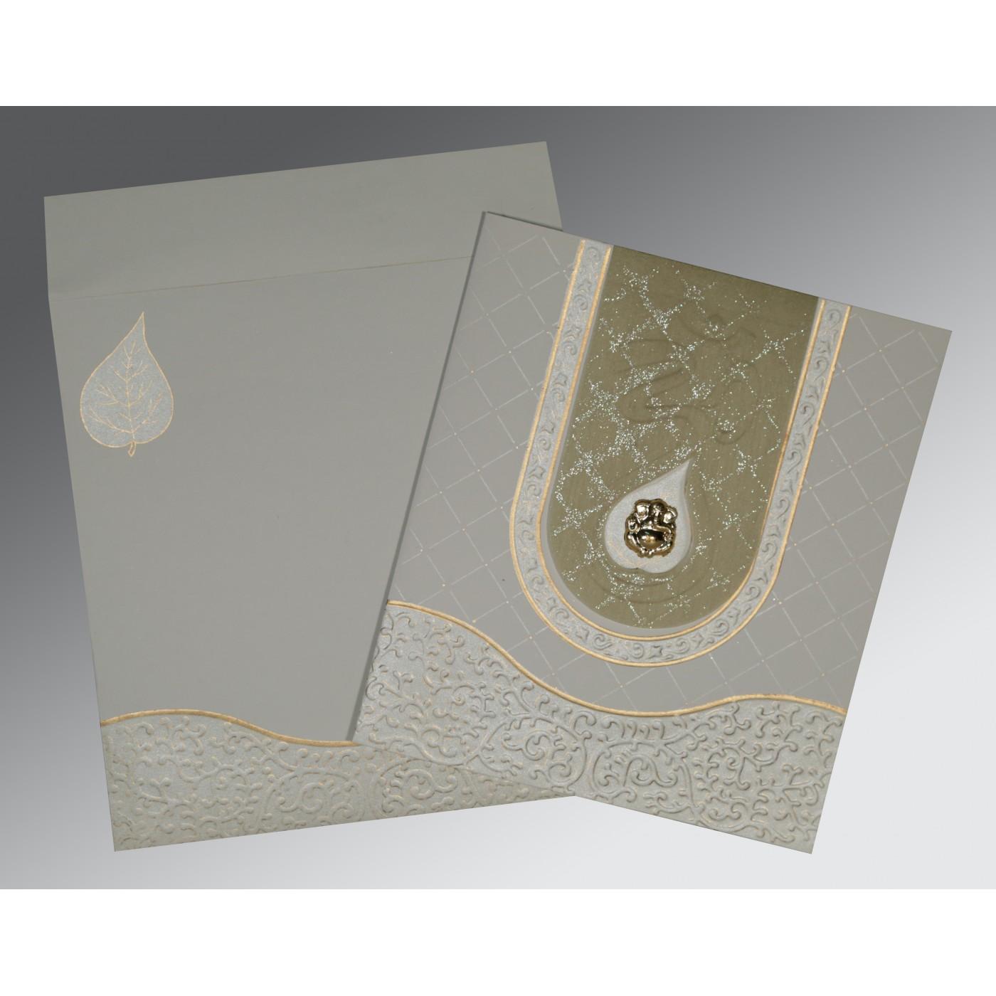 SHELL GREY MATTE EMBOSSED WEDDING INVITATION : W-2151 - 123WeddingCards