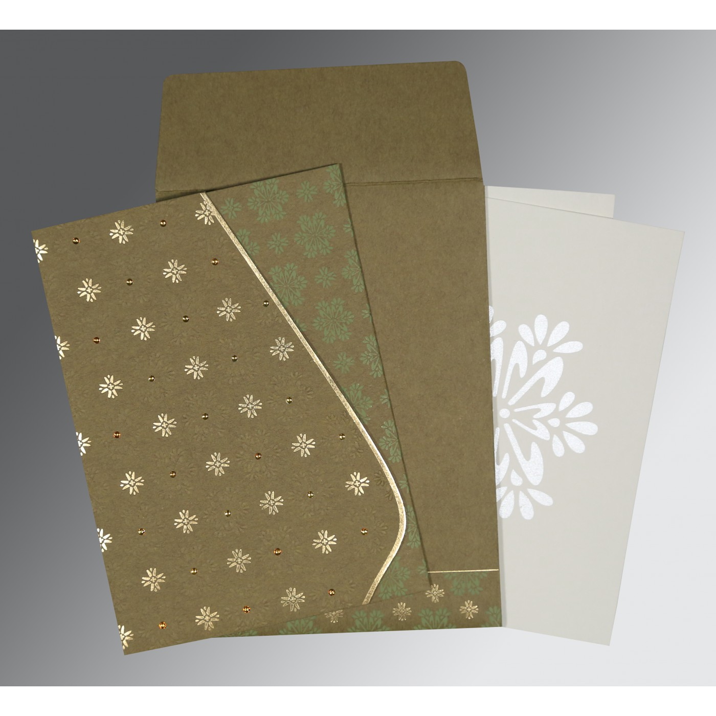 YELLOW METAL MATTE FLORAL THEMED - FOIL STAMPED WEDDING INVITATION : C-8237E - 123WeddingCards
