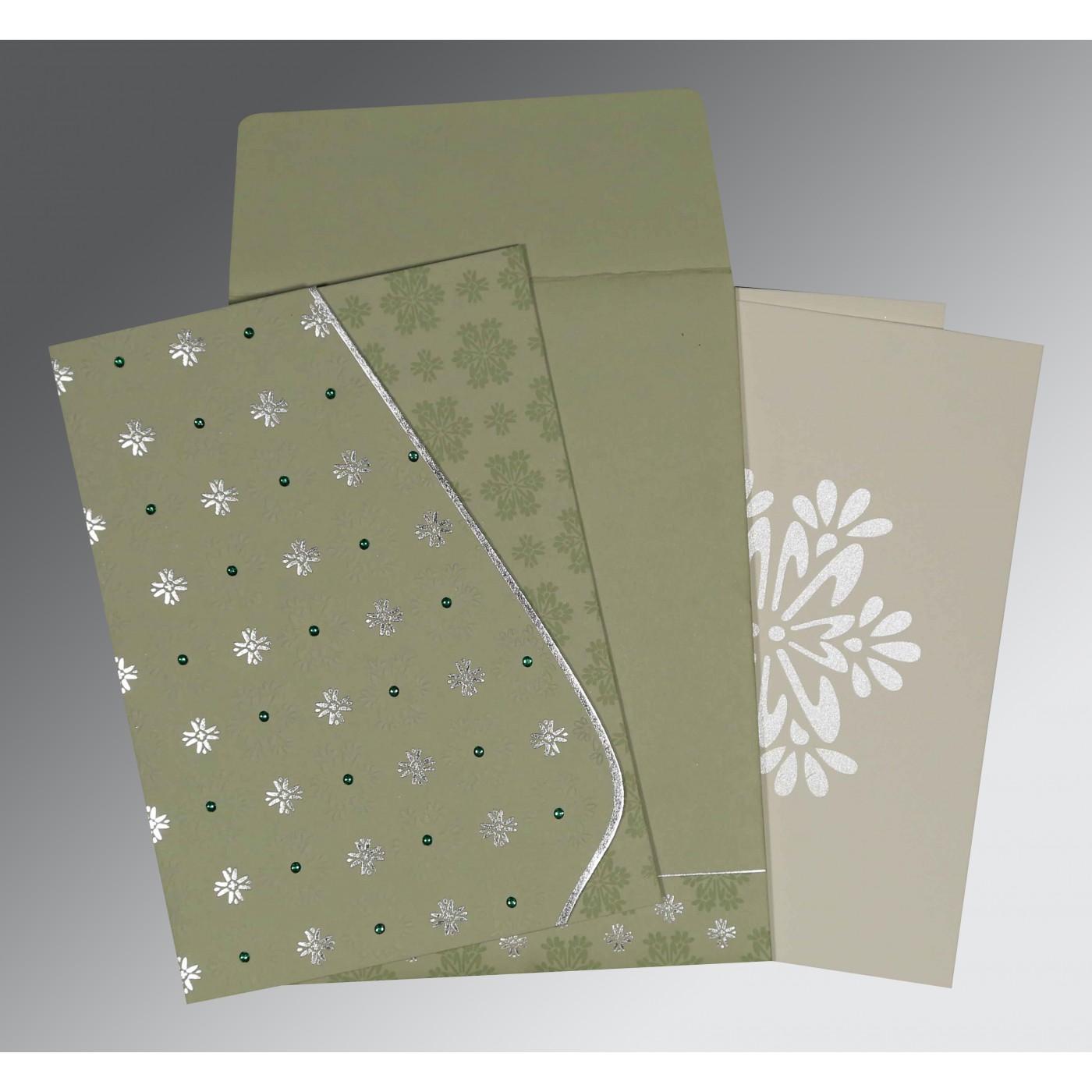 SAGE GREEN MATTE FLORAL THEMED - FOIL STAMPED WEDDING INVITATION : C-8237I - 123WeddingCards