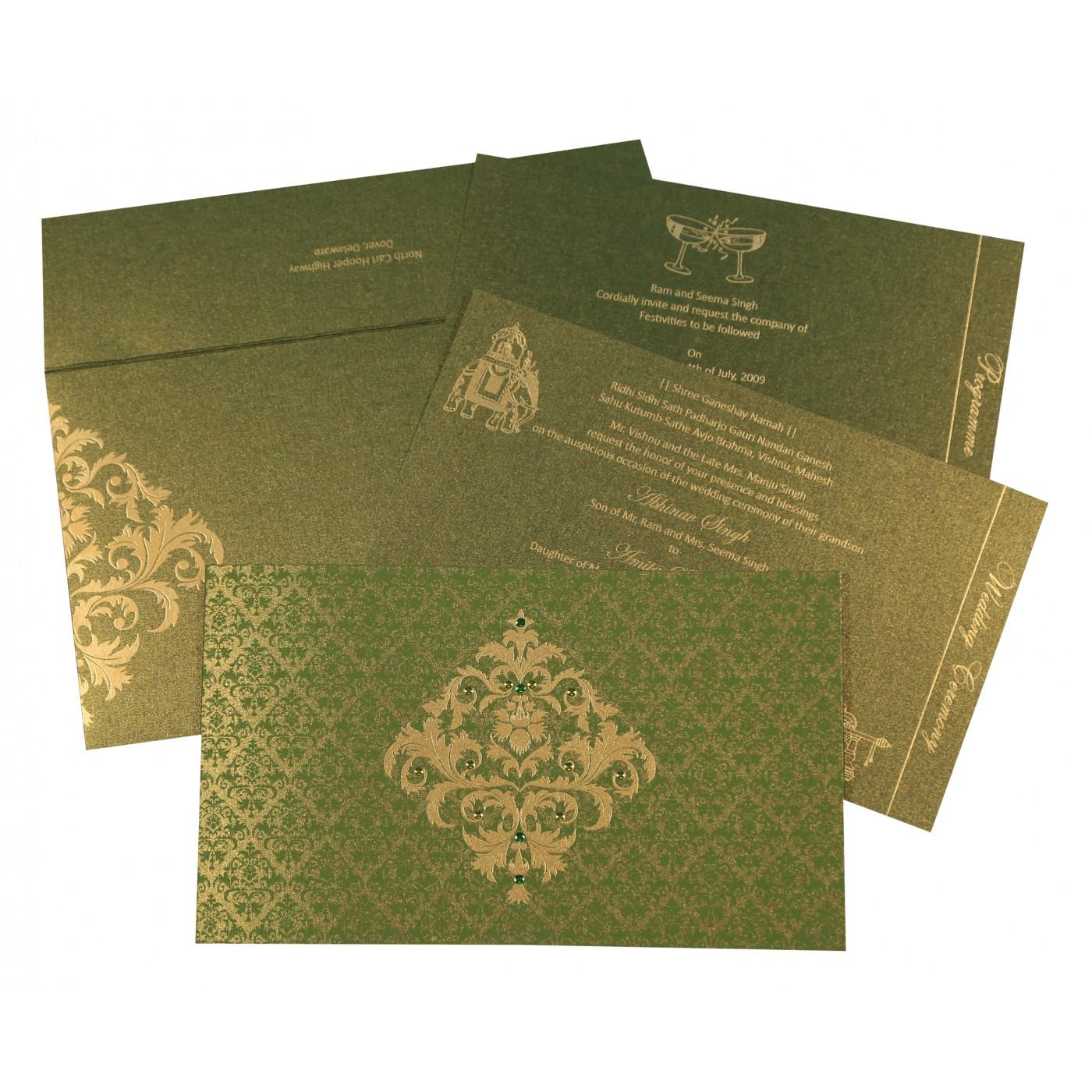 DEEP SAGE SHIMMERY DAMASK THEMED - SCREEN PRINTED WEDDING CARD : C-8257A - 123WeddingCards