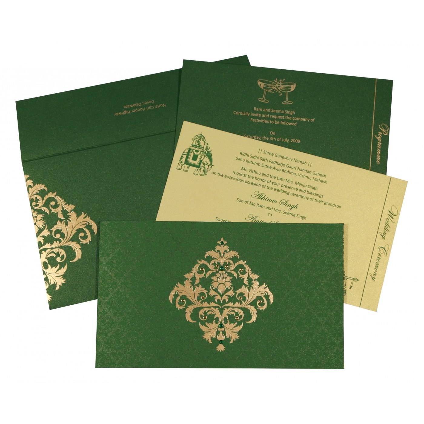 DARK GREEN SHIMMERY DAMASK THEMED - SCREEN PRINTED WEDDING CARD : C-8257F - 123WeddingCards