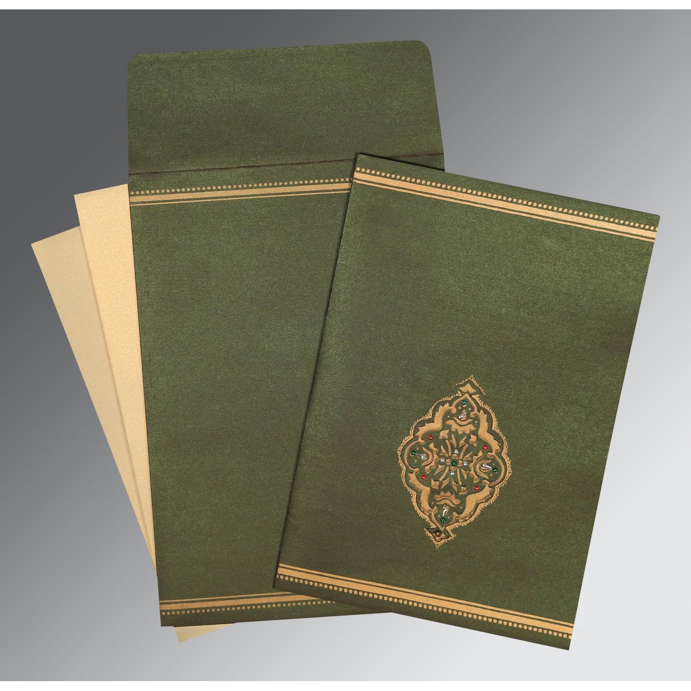 DARK OLIVE GREEN SHIMMERY EMBOSSED WEDDING CARD : C-1388 - 123WeddingCards