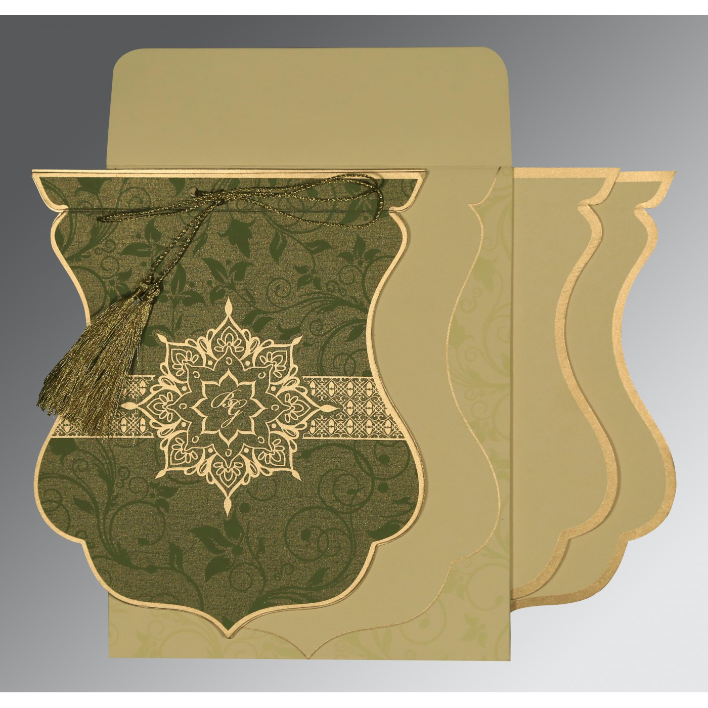 OLIVE GREEN SHIMMERY FLORAL THEMED - SCREEN PRINTED WEDDING CARD : C-8229P - 123WeddingCards