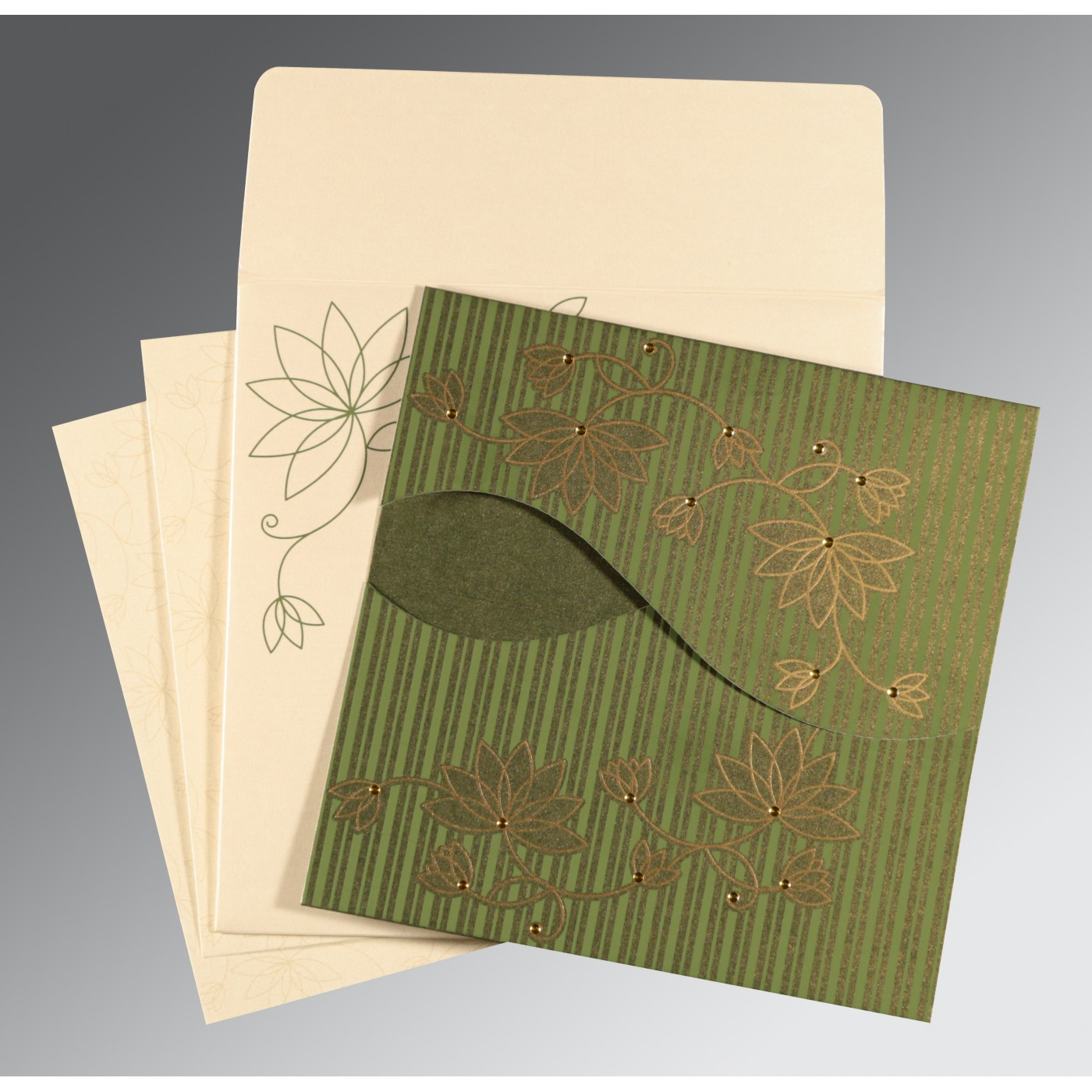 GREEN SHIMMERY FLORAL THEMED - SCREEN PRINTED WEDDING INVITATION : C-8251K - 123WeddingCards