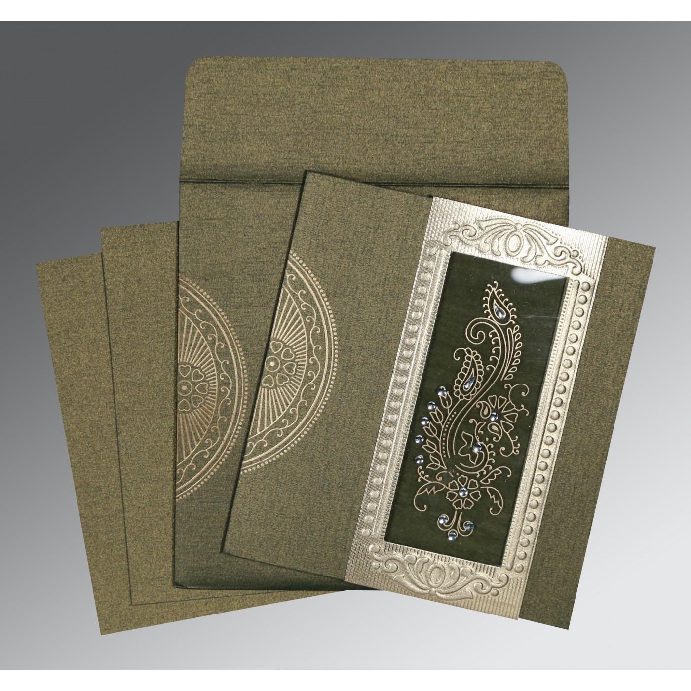 DEEP GREEN SHIMMERY FOIL STAMPED WEDDING INVITATION : C-8230L - 123WeddingCards