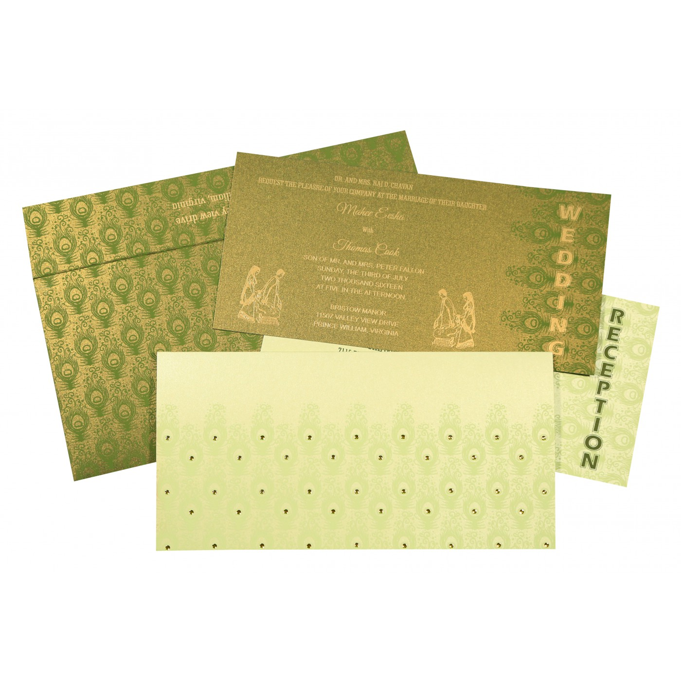 PALE YELLOW SHIMMERY PEACOCK THEMED - SCREEN PRINTED WEDDING INVITATION : C-8256F - 123WeddingCards