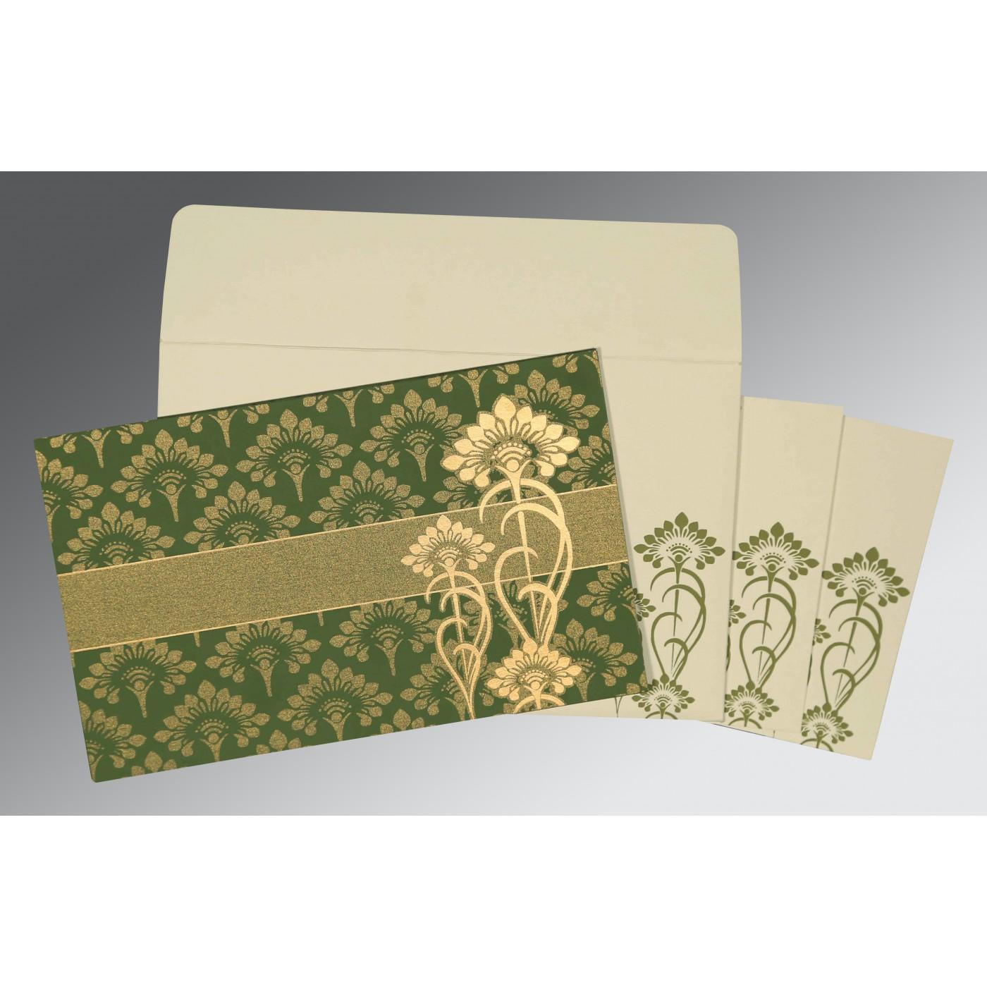 OLIVE GREEN SHIMMERY SCREEN PRINTED WEDDING CARD : C-8239F - 123WeddingCards
