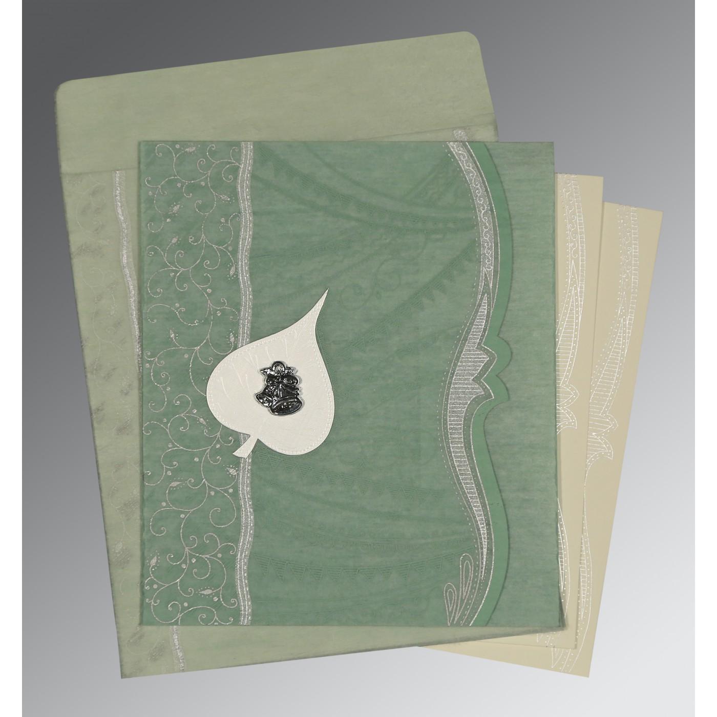 FERN GREEN SHIMMERY EMBOSSED WEDDING CARD : C-8210E - 123WeddingCards