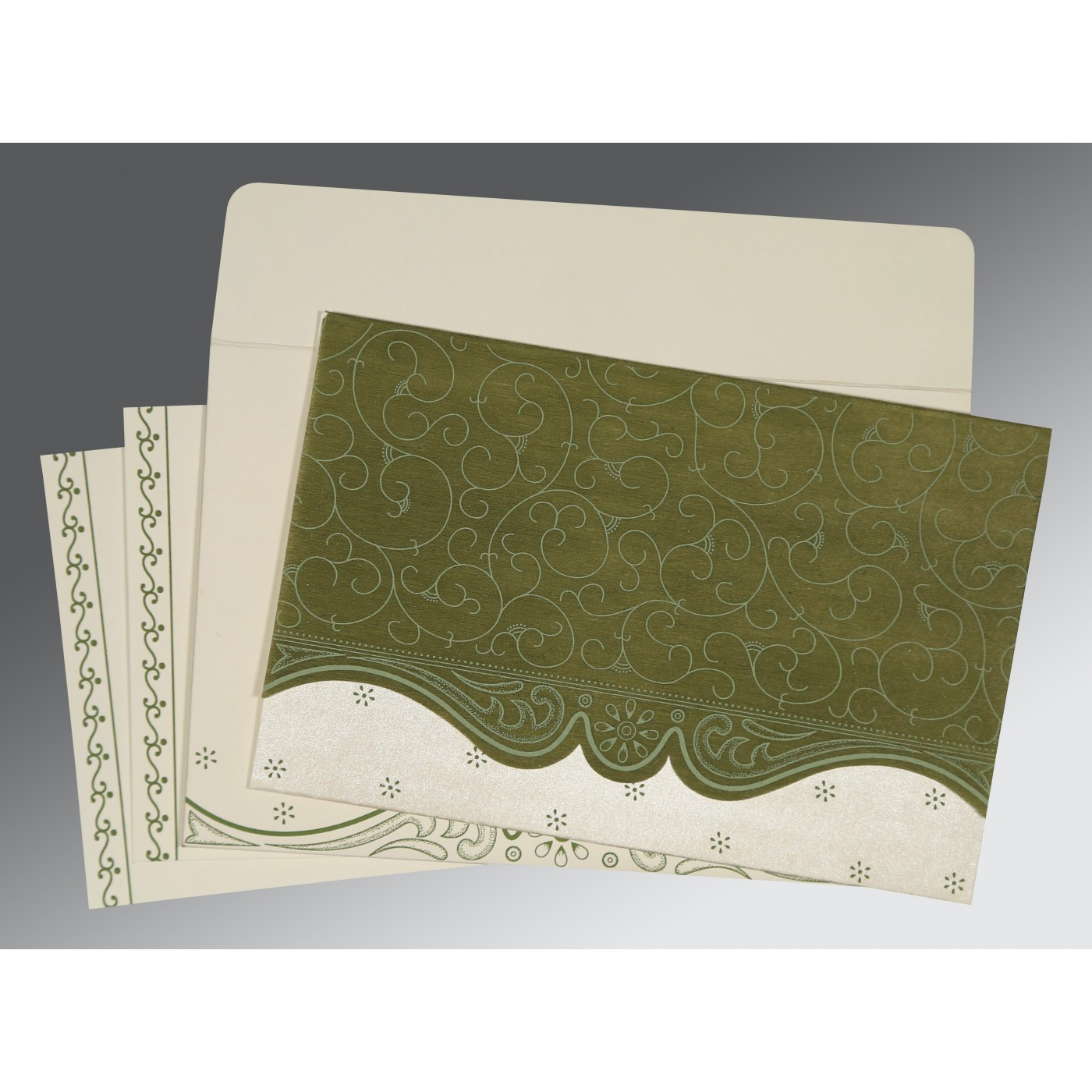 DEEP SAGE MATTE EMBOSSED WEDDING INVITATION : C-8221D - 123WeddingCards
