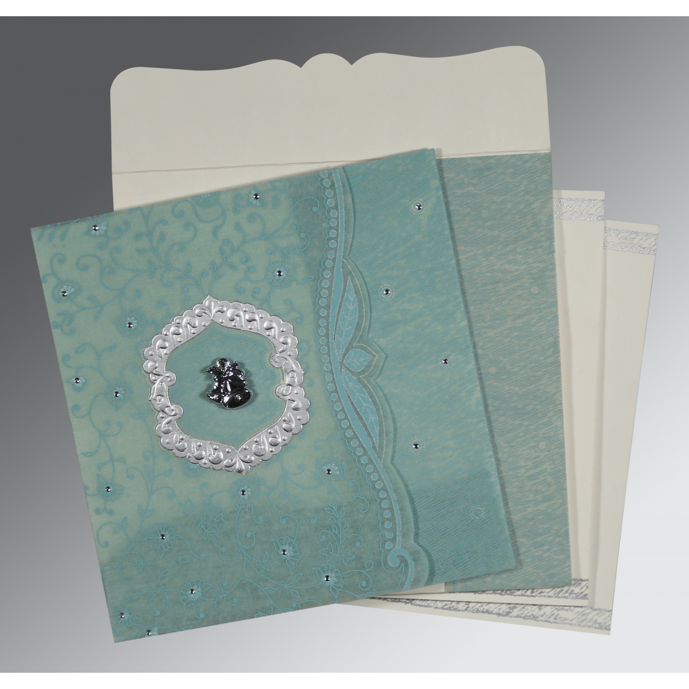 SEA GREEN SHIMMERY FLORAL THEMED - EMBOSSED WEDDING CARD : C-8209F - 123WeddingCards