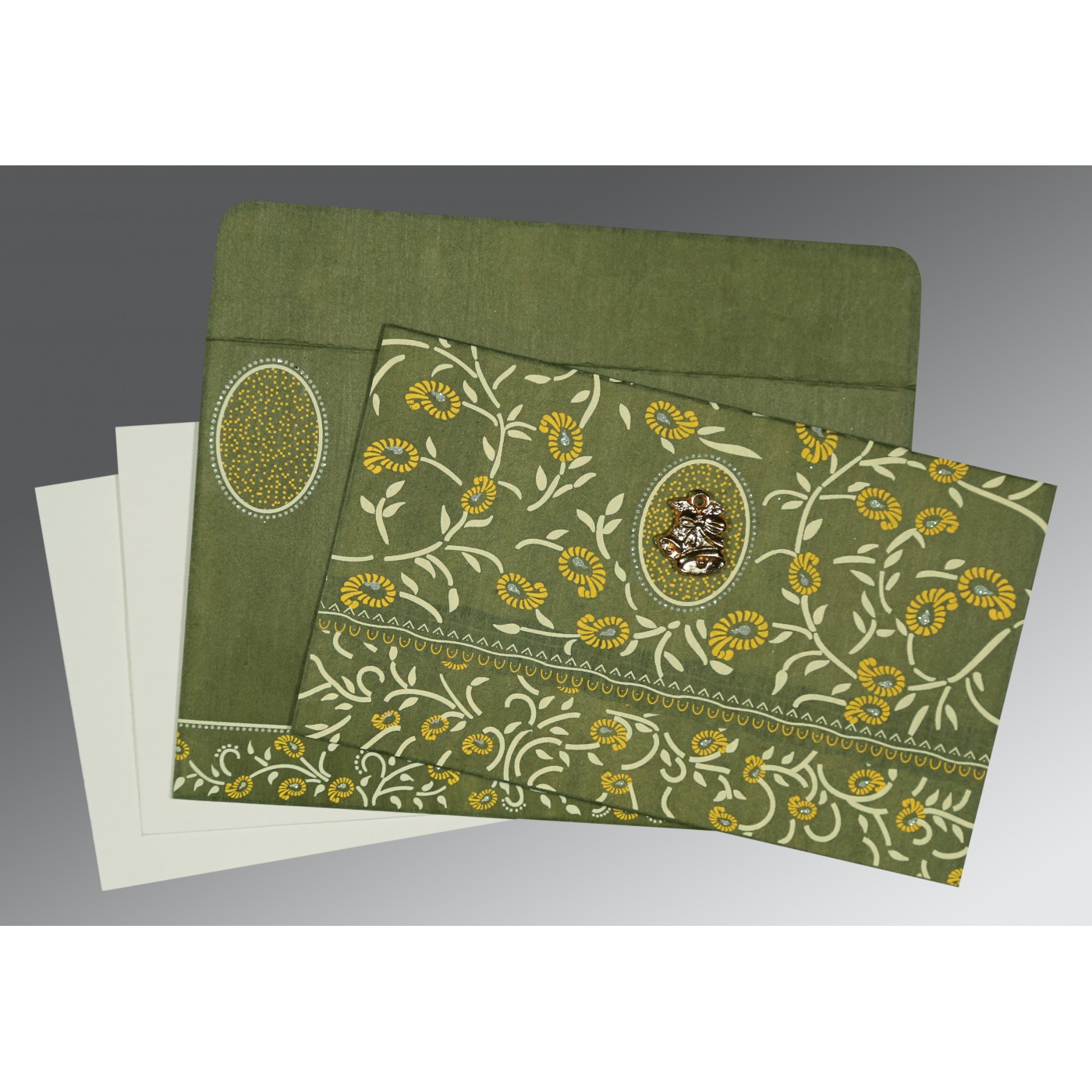 DEEP SAGE WOOLY FLORAL THEMED - GLITTER WEDDING CARD : C-8206D - 123WeddingCards