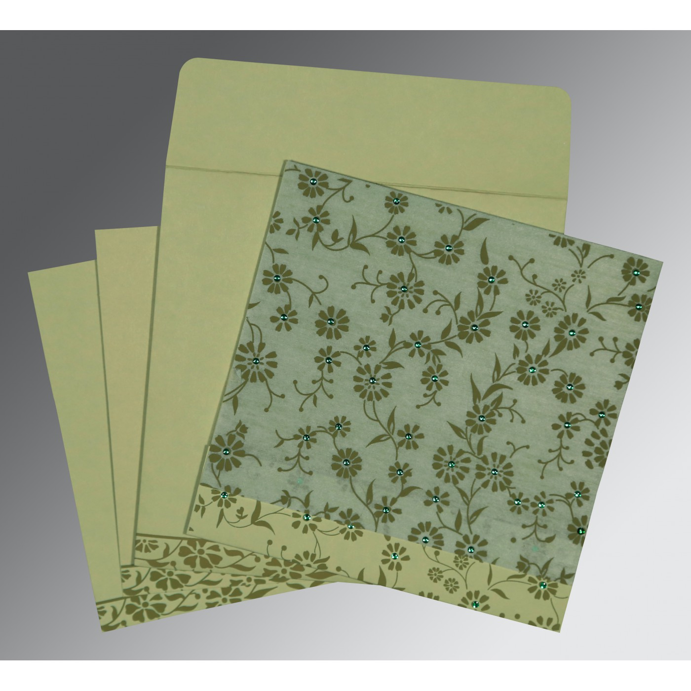 SAGE GREEN MATTE FLORAL THEMED - SCREEN PRINTED WEDDING CARD : C-8222G - 123WeddingCards