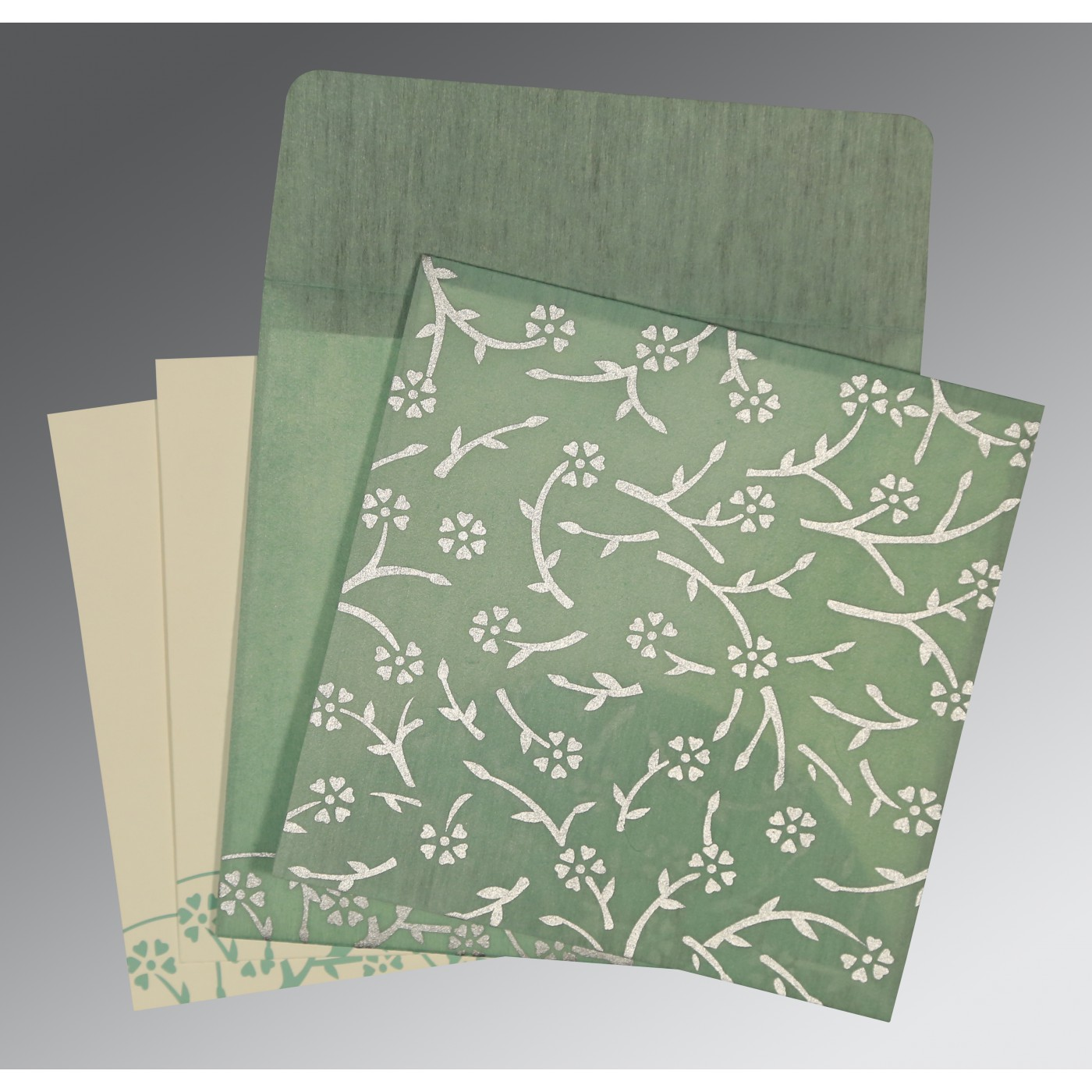 SAGE GREEN WOOLY FLORAL THEMED - SCREEN PRINTED WEDDING INVITATION : D-8216F - 123WeddingCards
