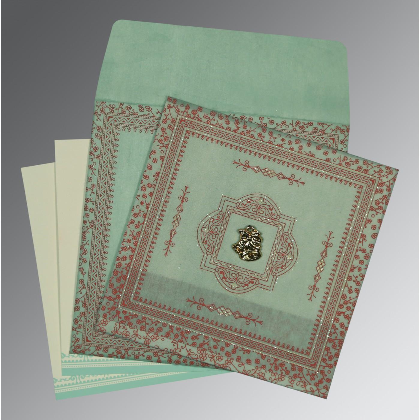 PISTA GREEN WOOLY GLITTER WEDDING CARD : C-8205N - 123WeddingCards