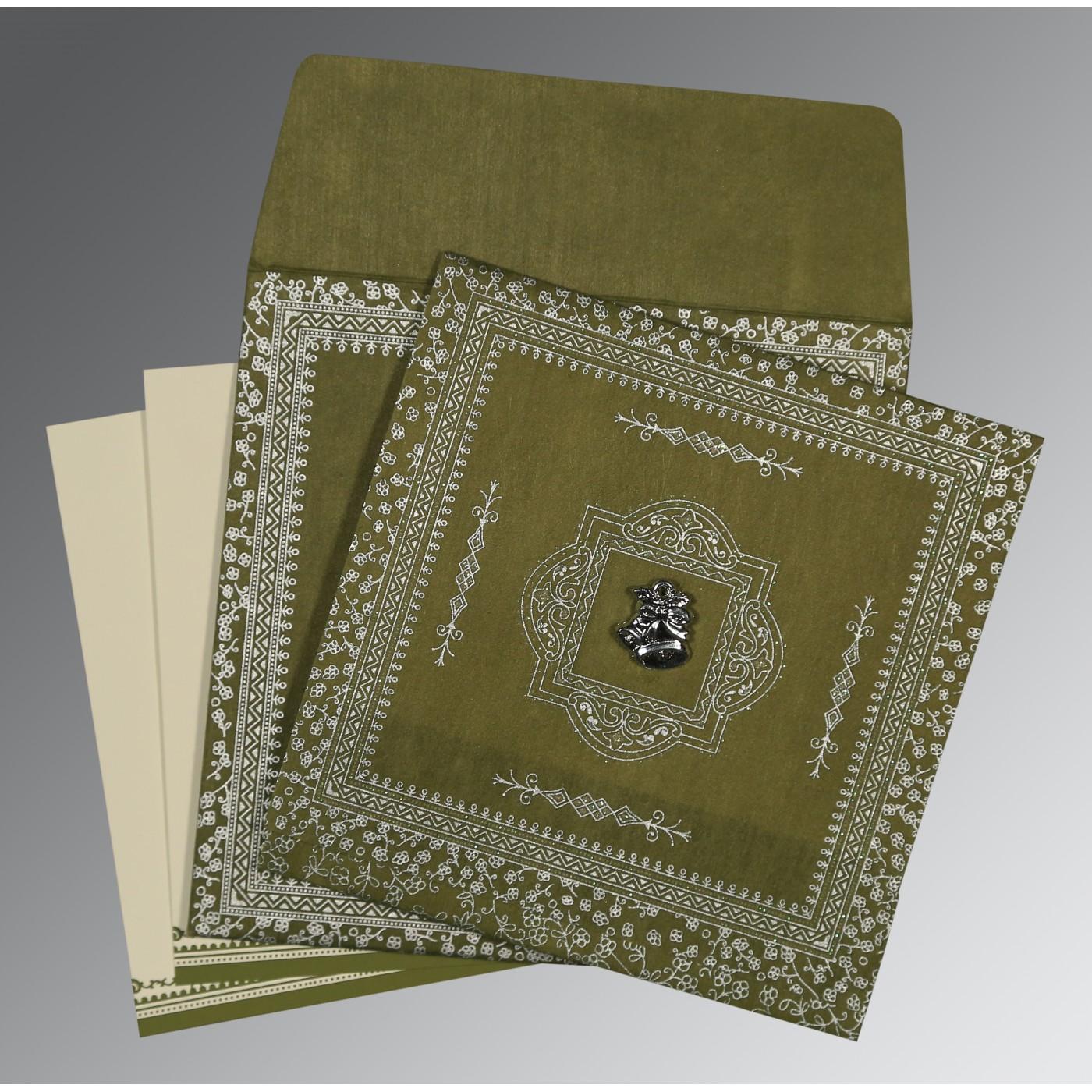 DEEP SAGE WOOLY GLITTER WEDDING CARD : C-8205Q - 123WeddingCards