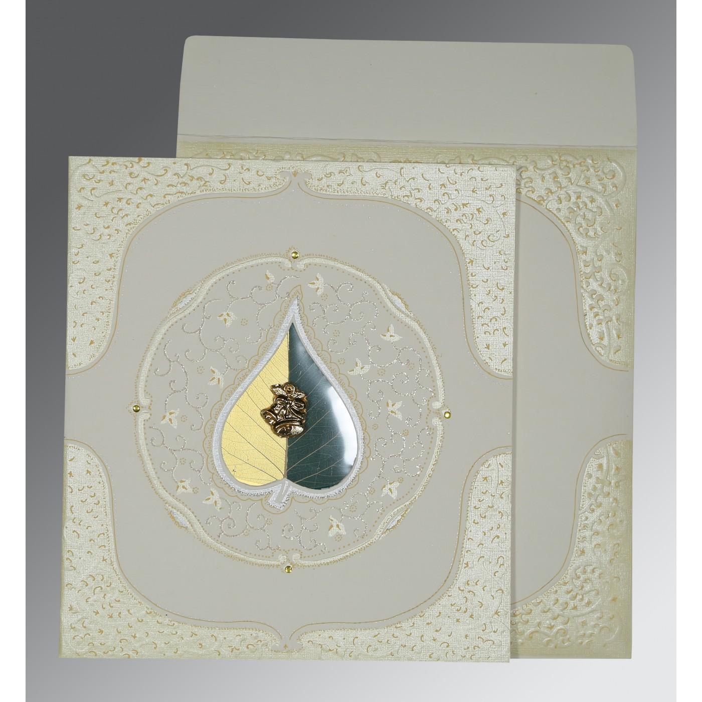 OFF-WHITE MATTE EMBOSSED WEDDING CARD : C-1153 - 123WeddingCards