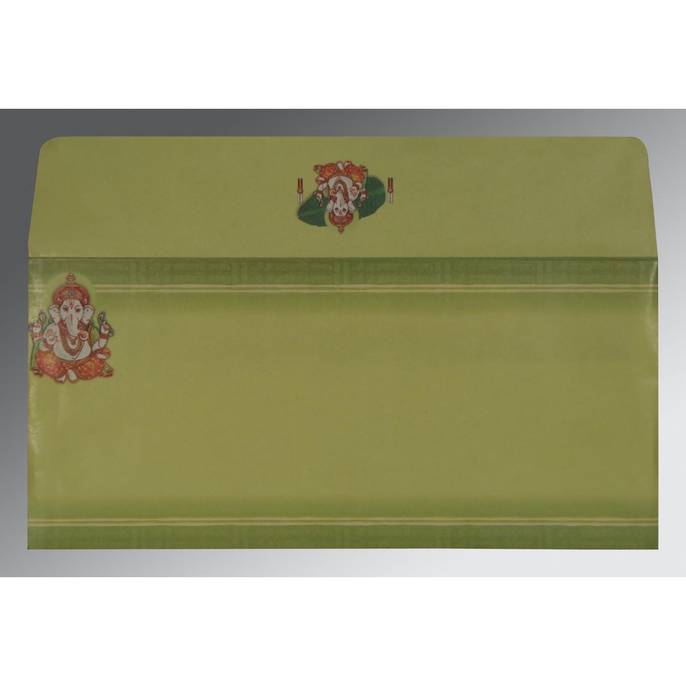 LIGHT GREEN MATTE EMBOSSED WEDDING CARD : W-2054 - 123WeddingCards