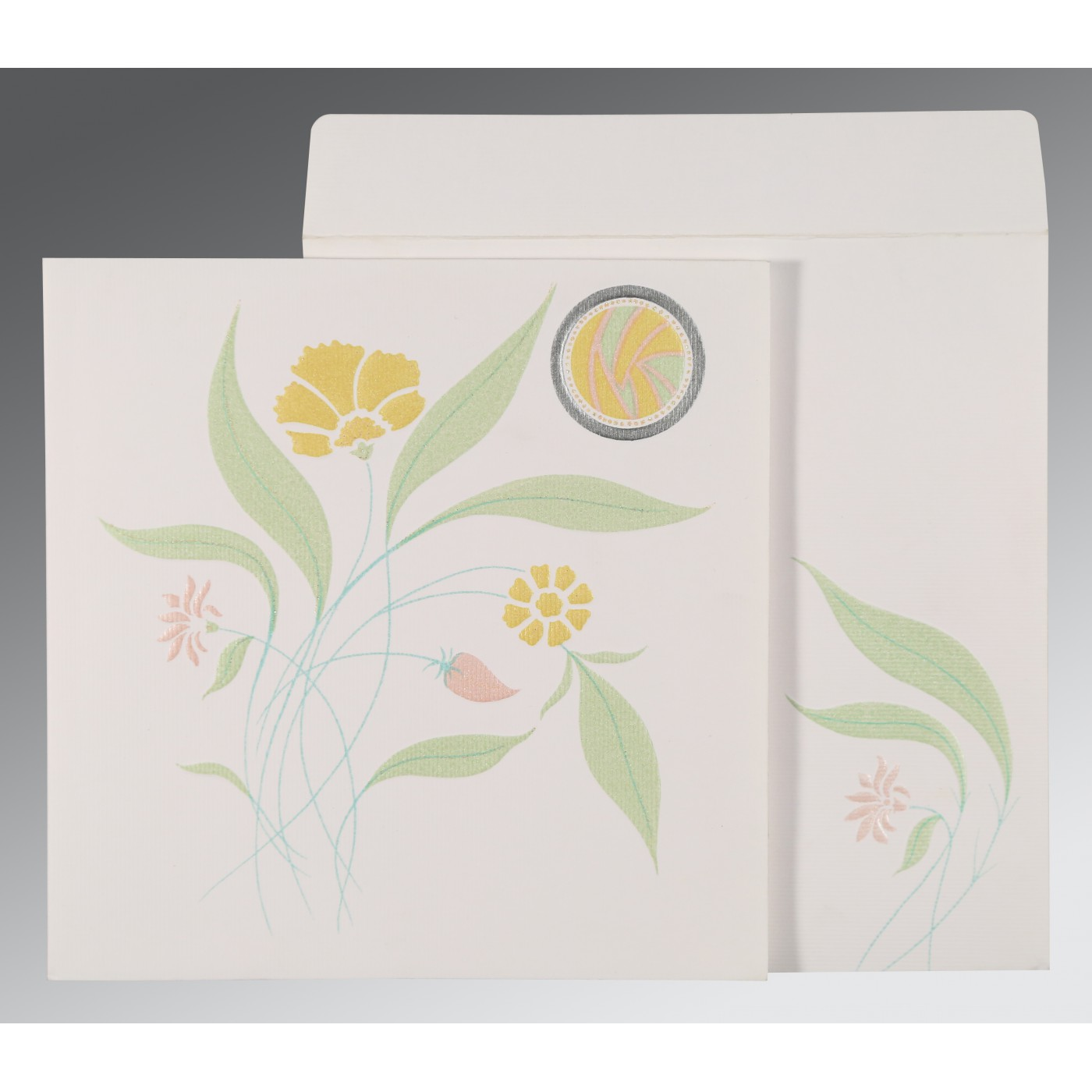 OFF-WHITE MATTE FLORAL THEMED - EMBOSSED WEDDING INVITATION : C-1114 - 123WeddingCards