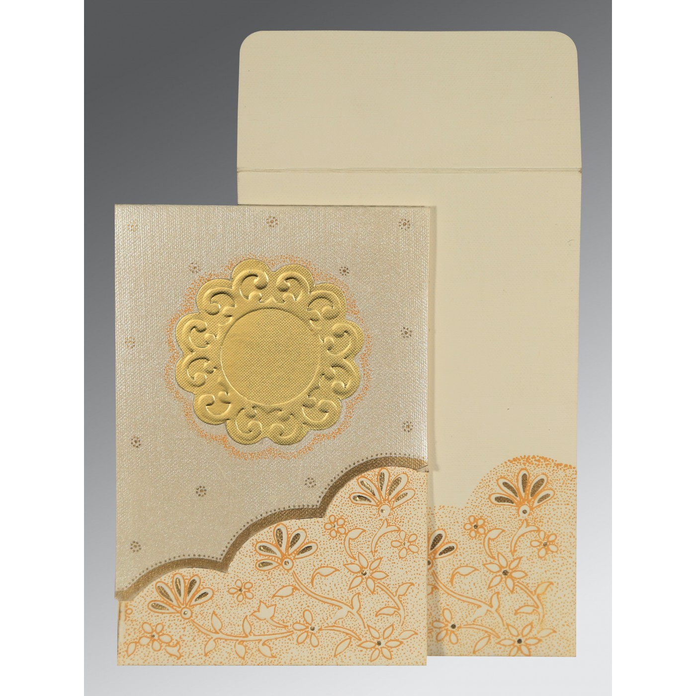 BEIGE MATTE FLORAL THEMED - SCREEN PRINTED WEDDING CARD : C-1183 - 123WeddingCards