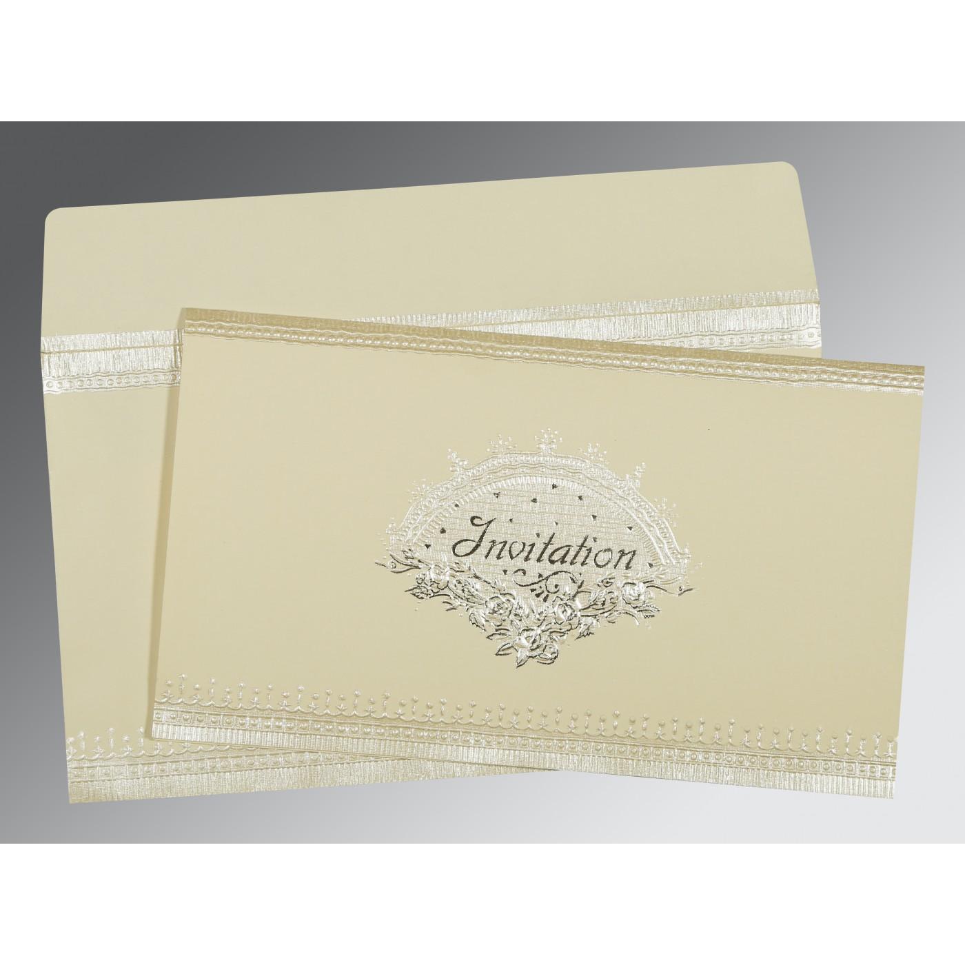 OFF-WHITE MATTE FOIL STAMPED WEDDING INVITATION : C-1338 - 123WeddingCards