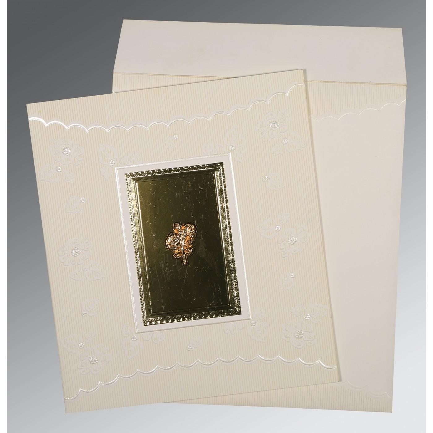 IVORY SILVER MATTE FOIL STAMPED WEDDING INVITATION : C-1437 - 123WeddingCards