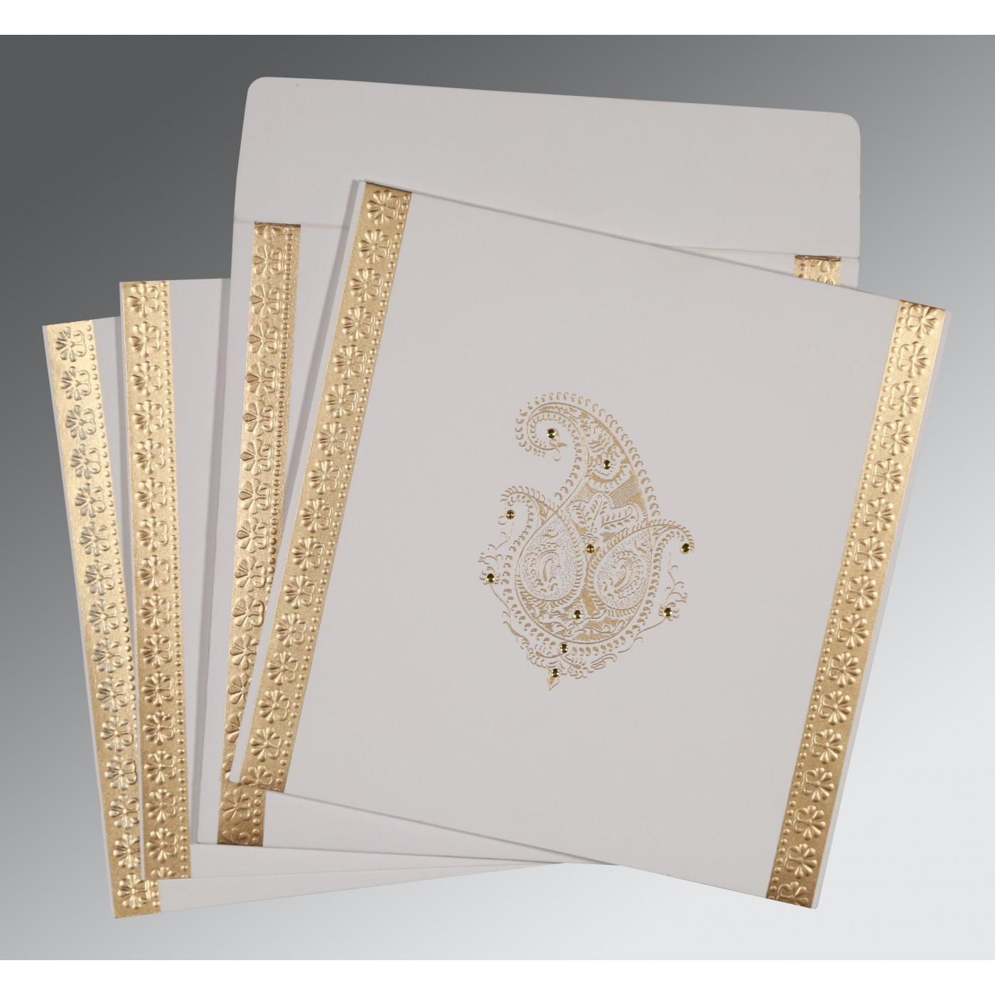 OFF-WHITE MATTE EMBOSSED WEDDING INVITATION : D-8231J - 123WeddingCards