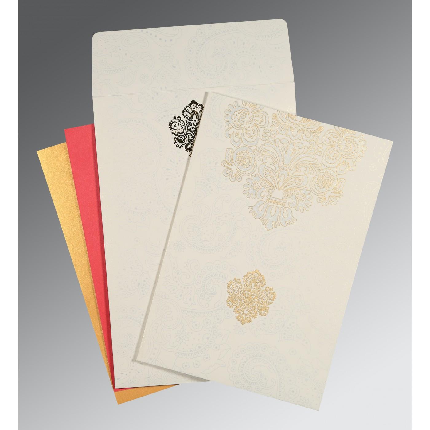WHITE MATTE SCREEN PRINTED WEDDING INVITATION : C-1508 - 123WeddingCards