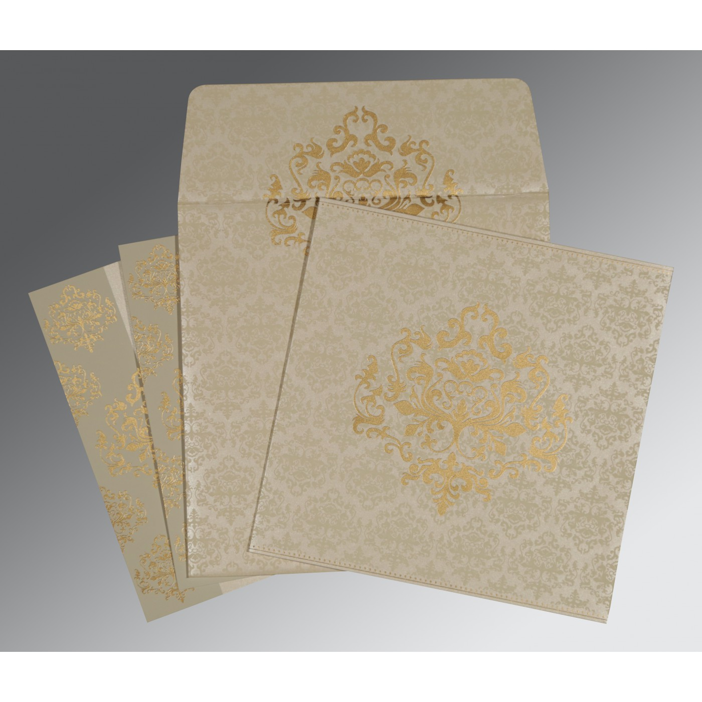 IVORY SHIMMERY DAMASK THEMED - SCREEN PRINTED WEDDING CARD : C-8254A - 123WeddingCards