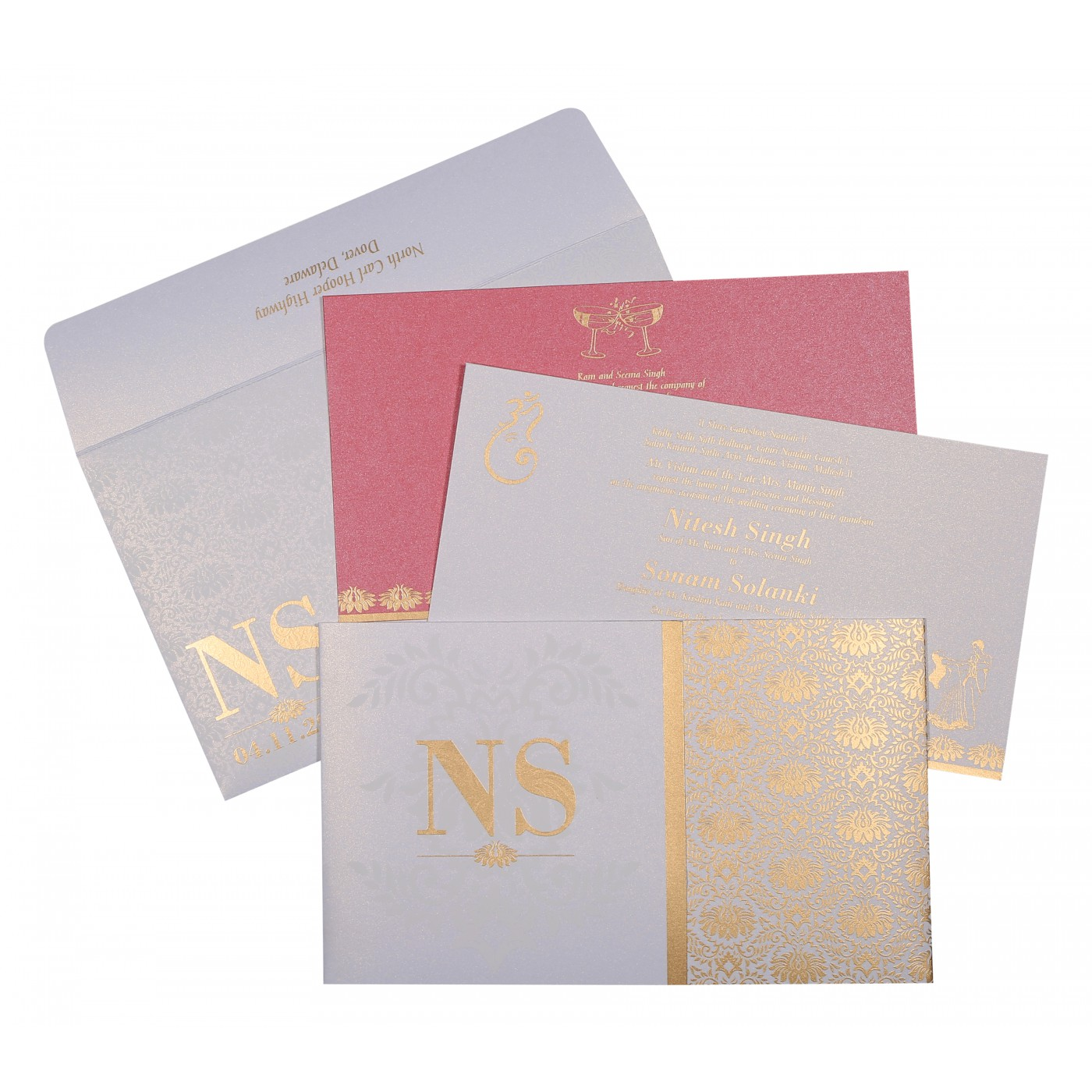 OFF-WHITE SHIMMERY DAMASK THEMED - SCREEN PRINTED WEDDING INVITATION ...