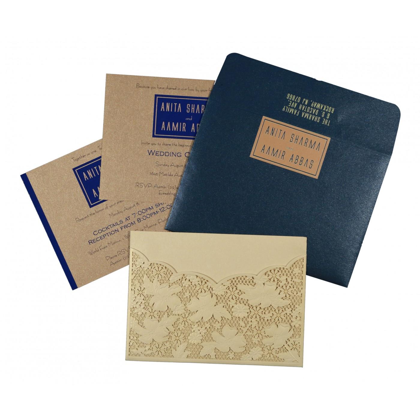 CREAM SHIMMERY FLORAL THEMED - LASER CUT WEDDING CARD : C-1586 - 123WeddingCards