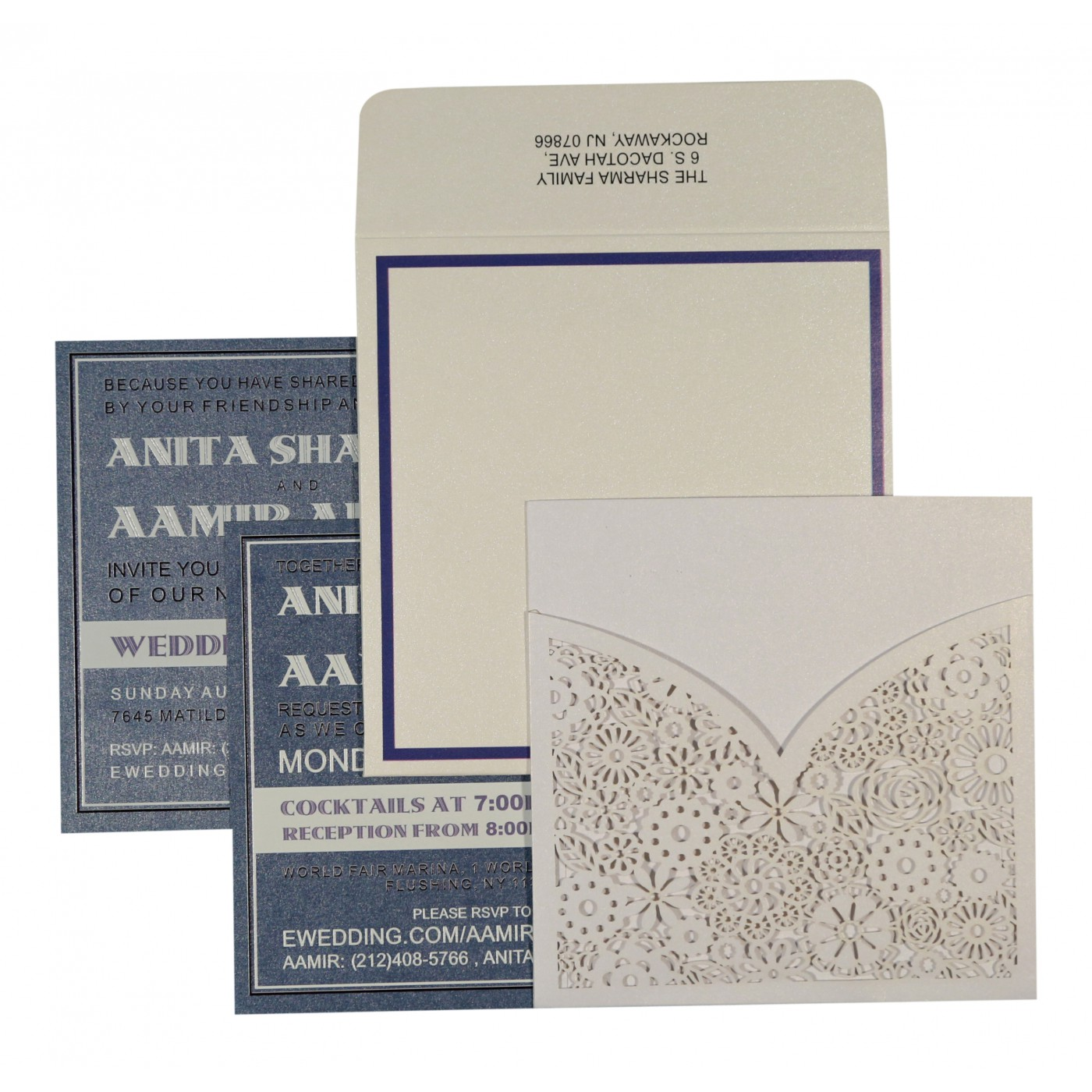 WHITE SHIMMERY FLORAL THEMED - LASER CUT WEDDING INVITATION : C-1593 - 123WeddingCards