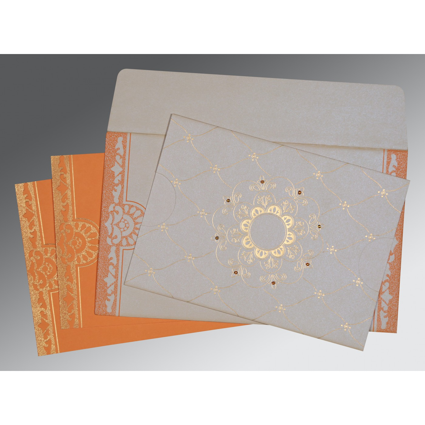 OFF-WHITE SHIMMERY FLORAL THEMED - SCREEN PRINTED WEDDING CARD : C-8227D - 123WeddingCards