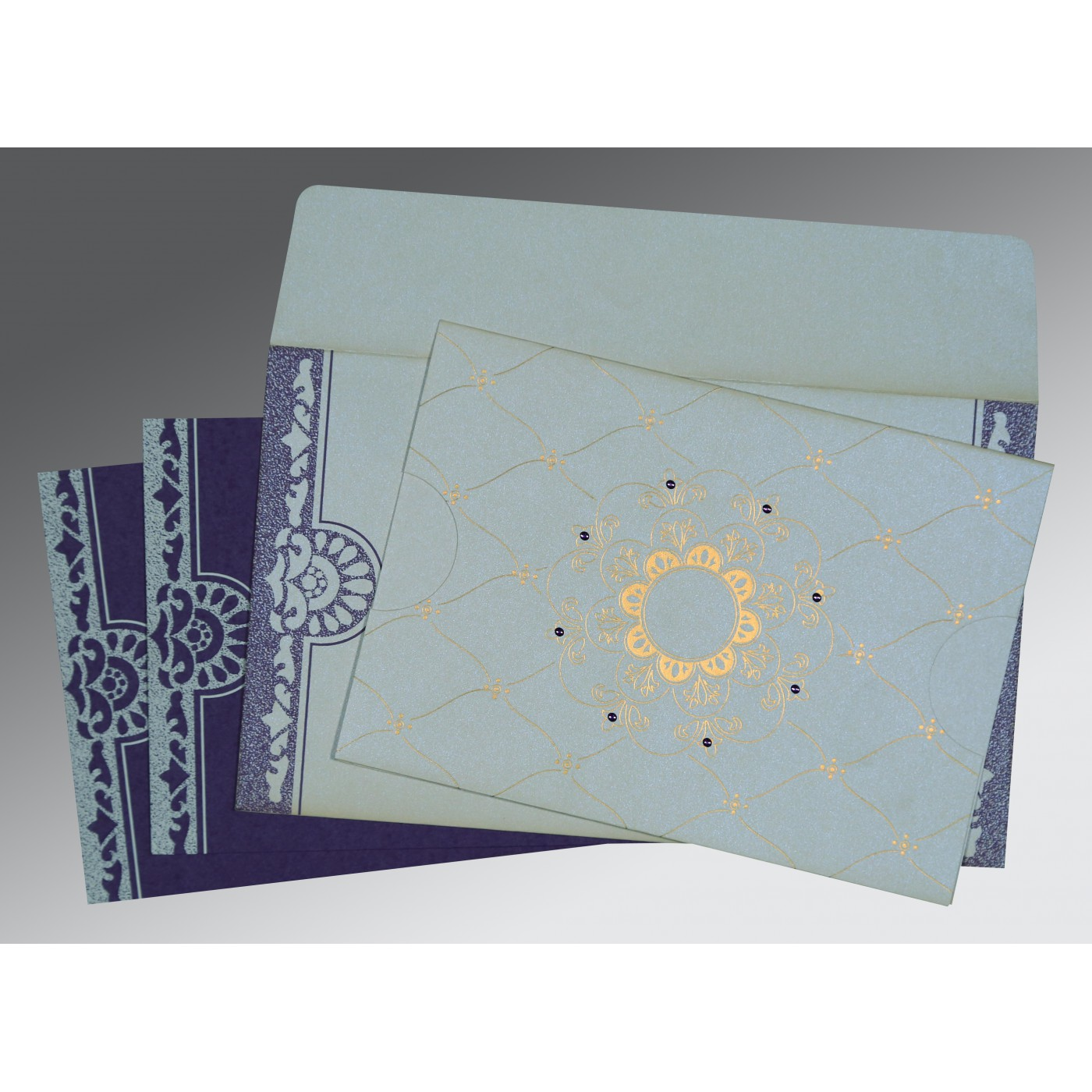 OFF-WHITE SHIMMERY FLORAL THEMED - SCREEN PRINTED WEDDING CARD : C-8227E - 123WeddingCards