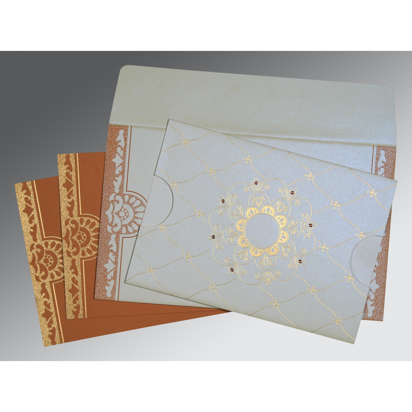 OFF-WHITE SHIMMERY FLORAL THEMED - SCREEN PRINTED WEDDING CARD : C-8227H - 123WeddingCards