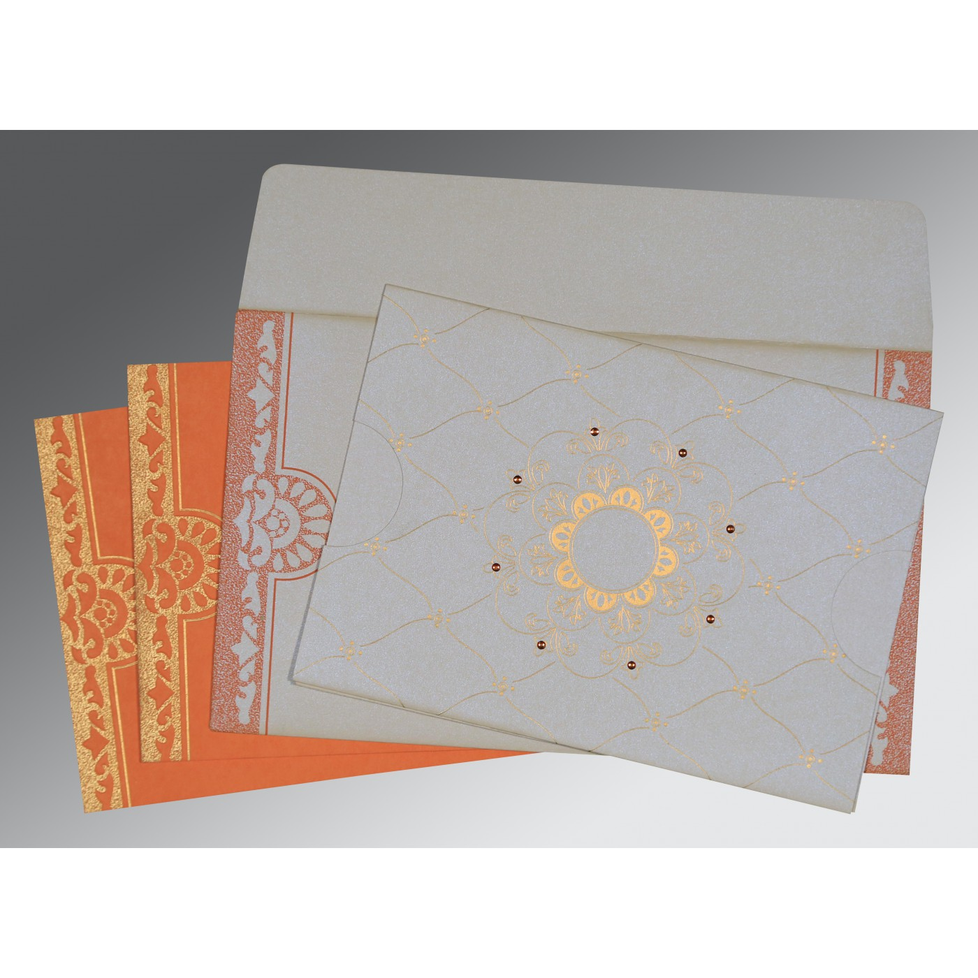 OFF-WHITE BLUE SHIMMERY FLORAL THEMED - SCREEN PRINTED WEDDING CARD : C-8227N - 123WeddingCards