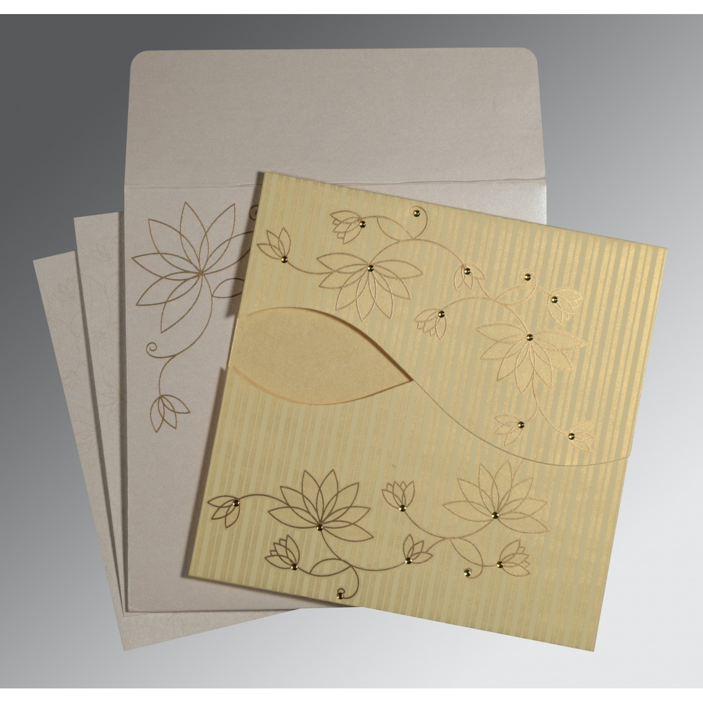 CHAMOISEE SHIMMERY FLORAL THEMED - SCREEN PRINTED WEDDING INVITATION : C-8251H - 123WeddingCards