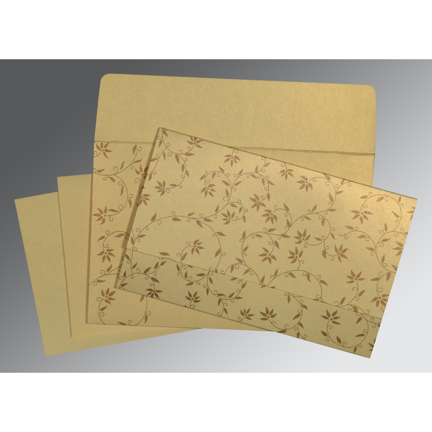 CREAM SHIMMERY FLORAL THEMED - SCREEN PRINTED WEDDING INVITATION : D-8226S - 123WeddingCards