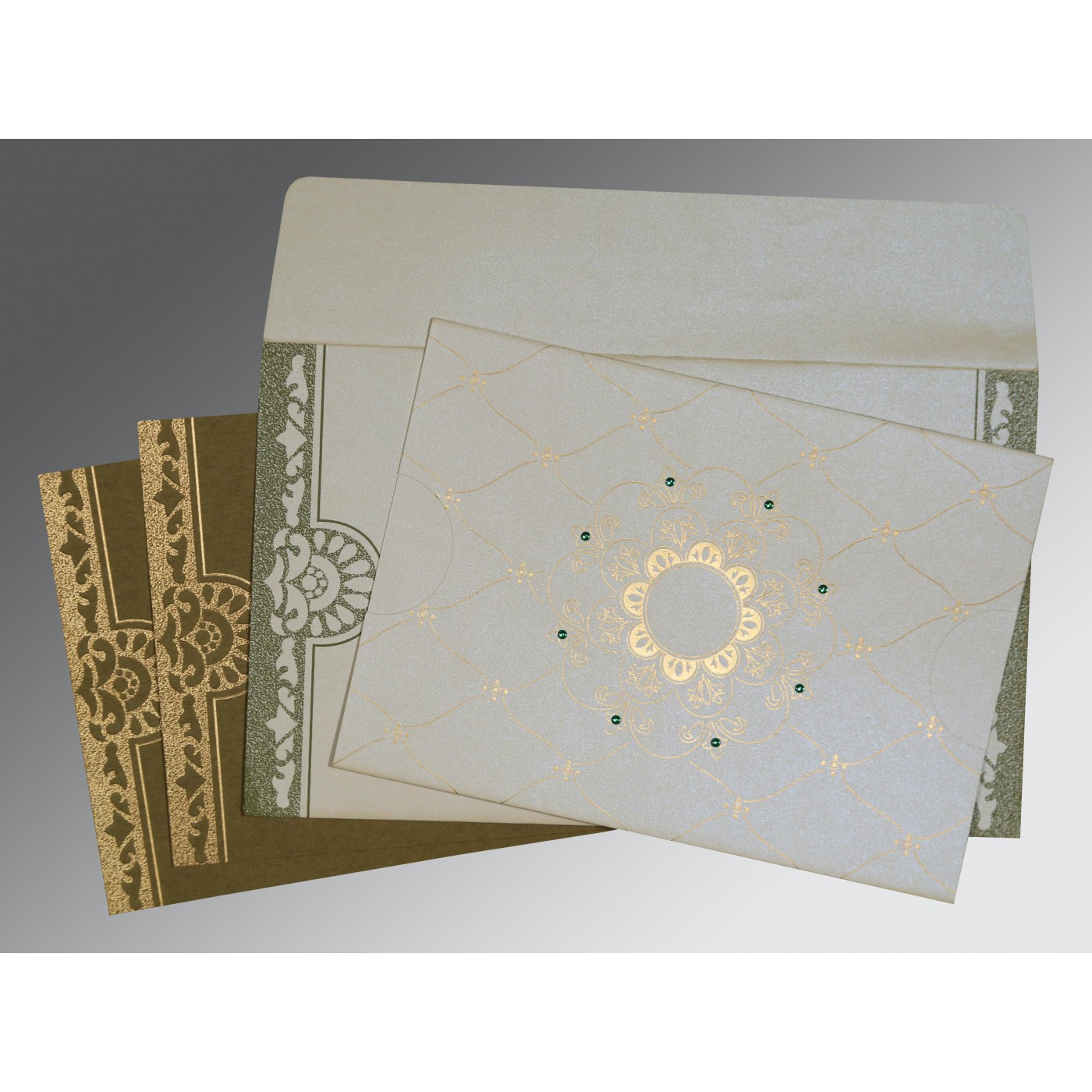 OFF-WHITE SHIMMERY FLORAL THEMED - SCREEN PRINTED WEDDING CARD : D-8227F - 123WeddingCards