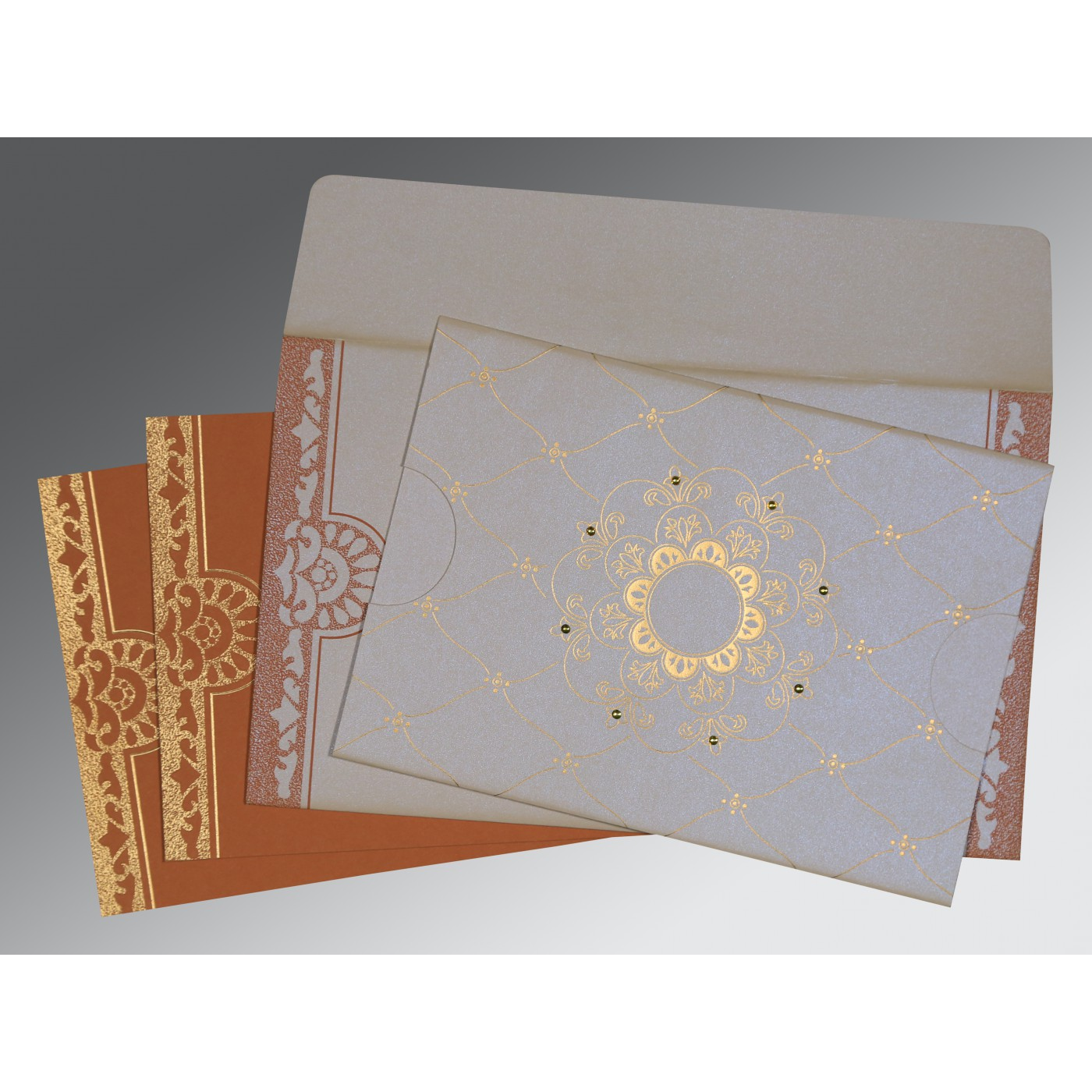 OFF-WHITE SHIMMERY FLORAL THEMED - SCREEN PRINTED WEDDING CARD : D-8227L - 123WeddingCards