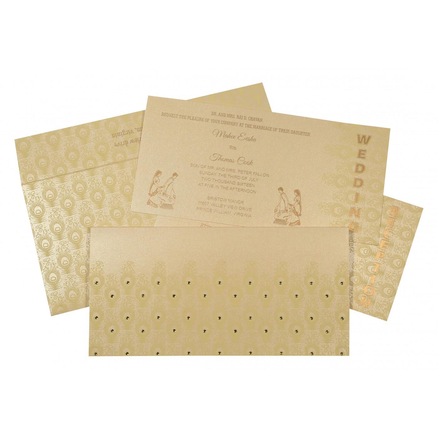 BEIGE GOLD SHIMMERY PEACOCK THEMED - SCREEN PRINTED WEDDING INVITATION : C-8256B - 123WeddingCards