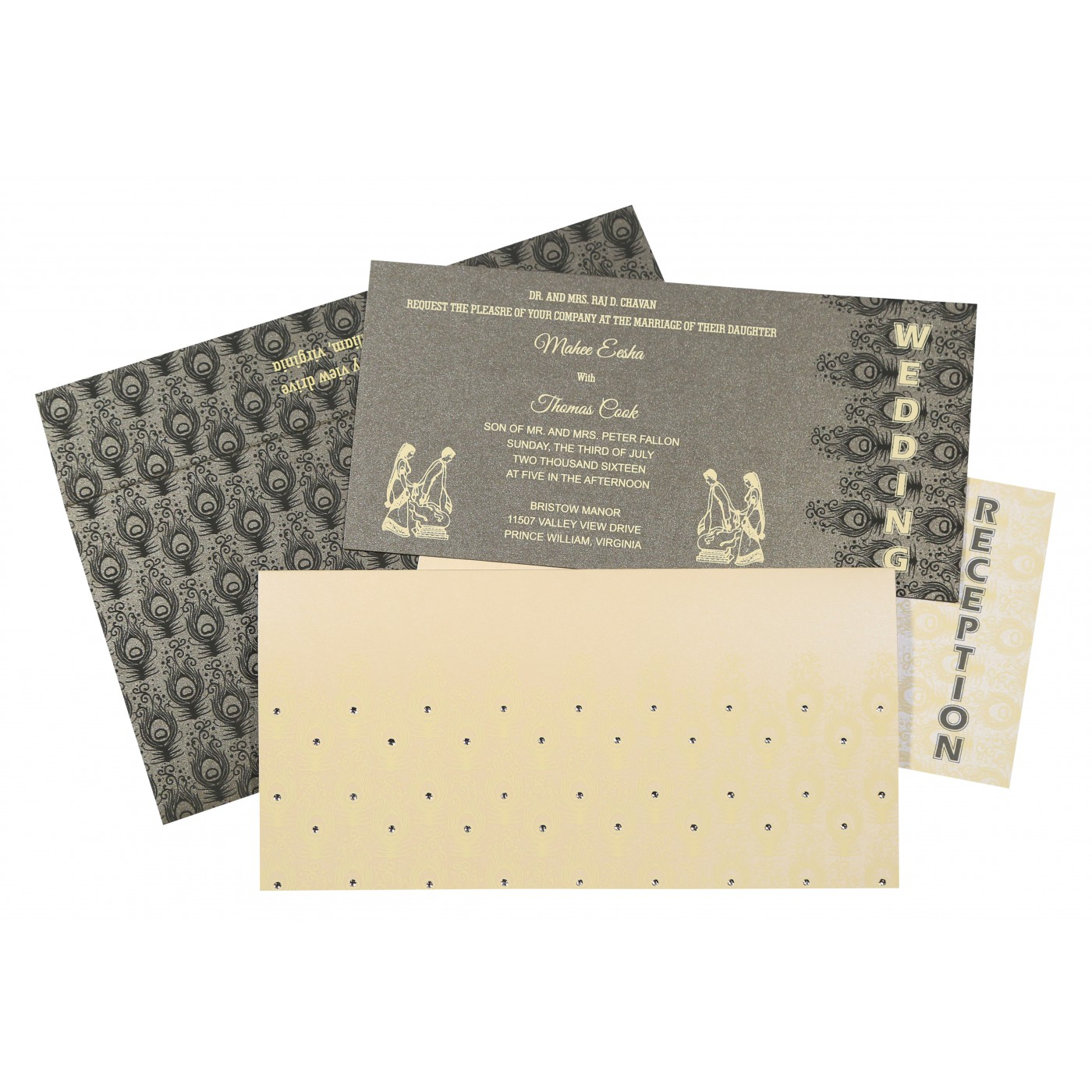 IVORY SHIMMERY PEACOCK THEMED - SCREEN PRINTED WEDDING INVITATION : C-8256D - 123WeddingCards
