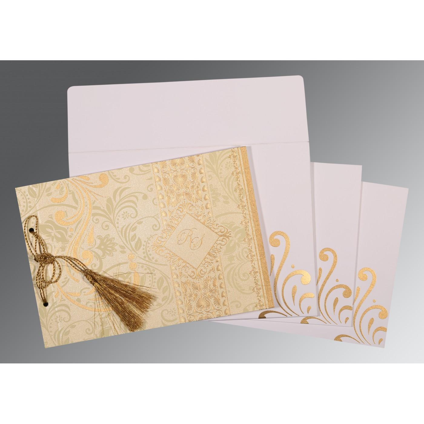 CHAMOISEE SHIMMERY SCREEN PRINTED WEDDING CARD : D-8223L - 123WeddingCards