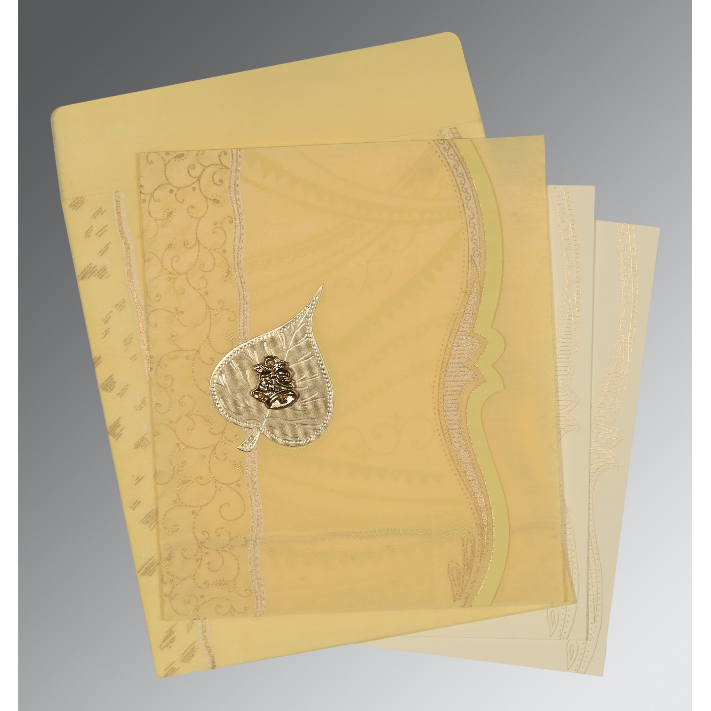 MUSTARD YELLOW SHIMMERY EMBOSSED WEDDING CARD : C-8210G - 123WeddingCards