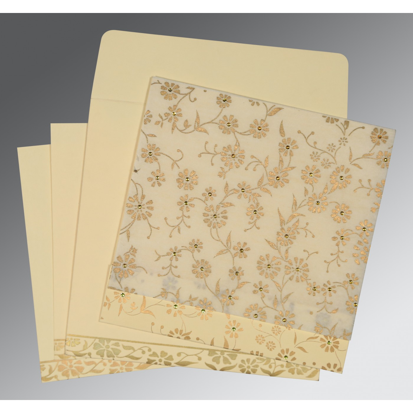 OFF-WHITE MATTE FLORAL THEMED - SCREEN PRINTED WEDDING CARD : C-8222I - 123WeddingCards